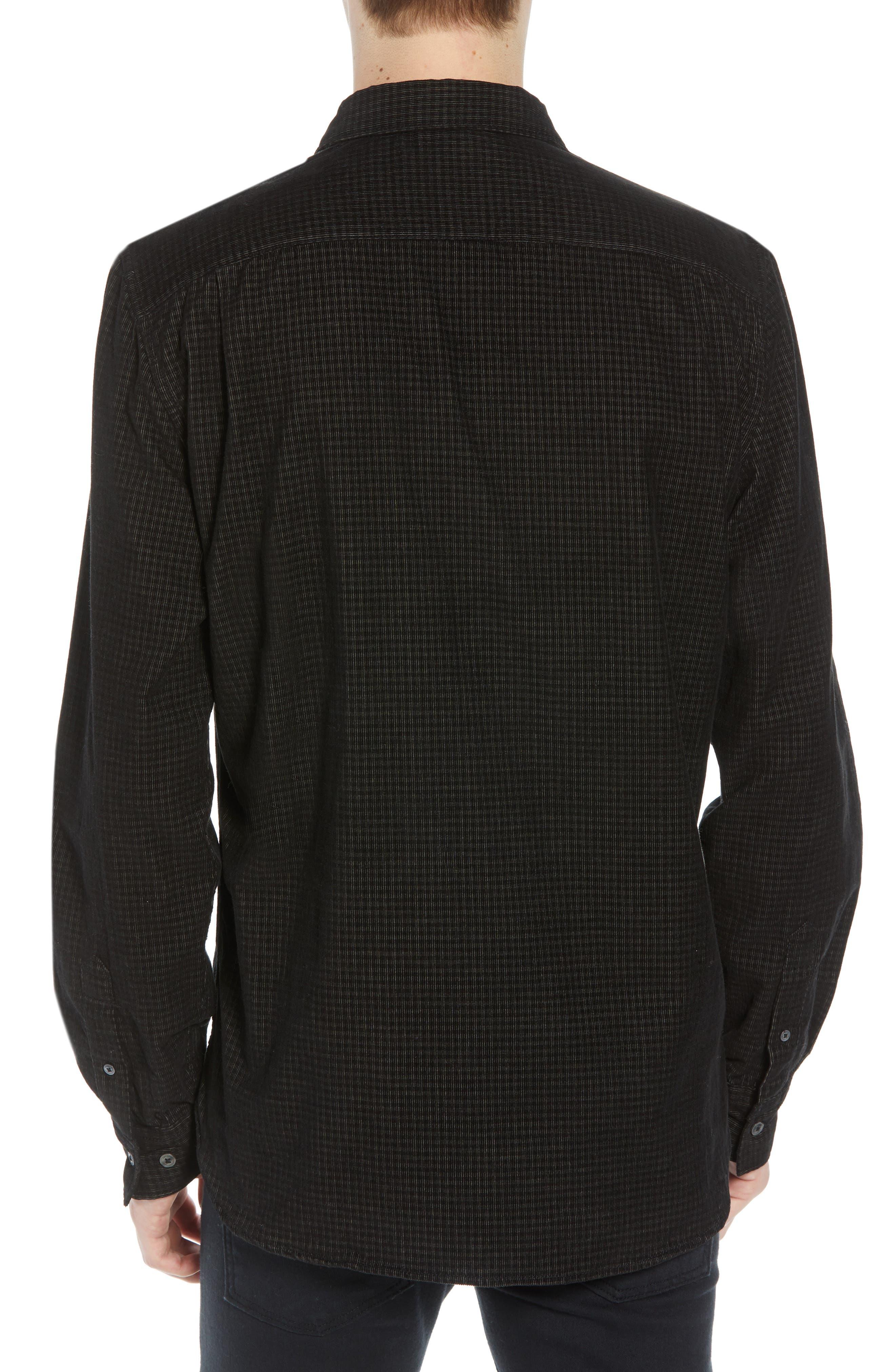 Regular Fit Mini Check Corduroy Shirt,                             Alternate thumbnail 3, color,                             BLACK IRIS
