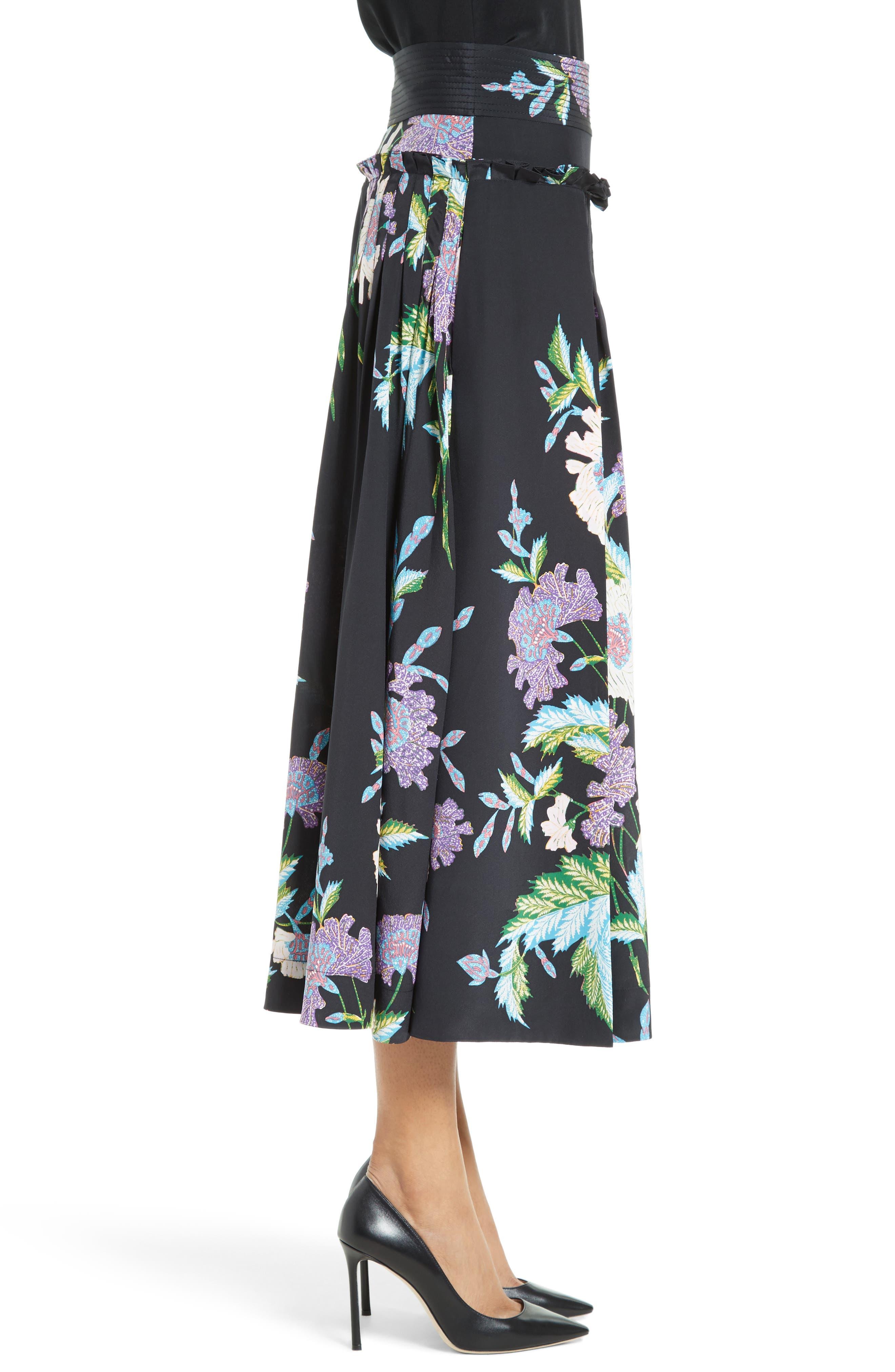 Diane von Furstenberg Floral Silk Midi Skirt,                             Alternate thumbnail 6, color,