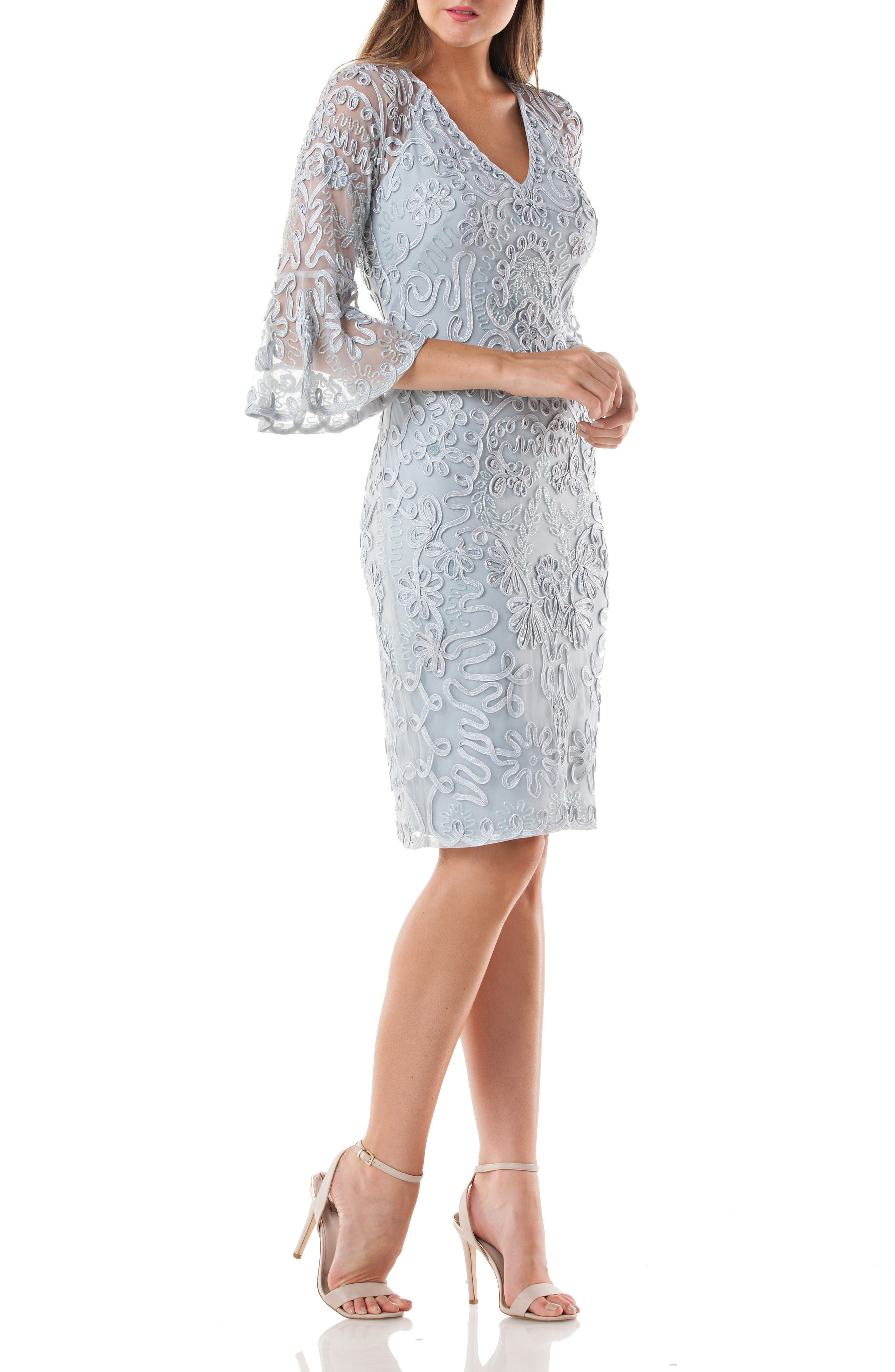 JS COLLECTIONS Bell Sleeve Bead & Soutache Cocktail Dress, Main, color, CELESTIAL
