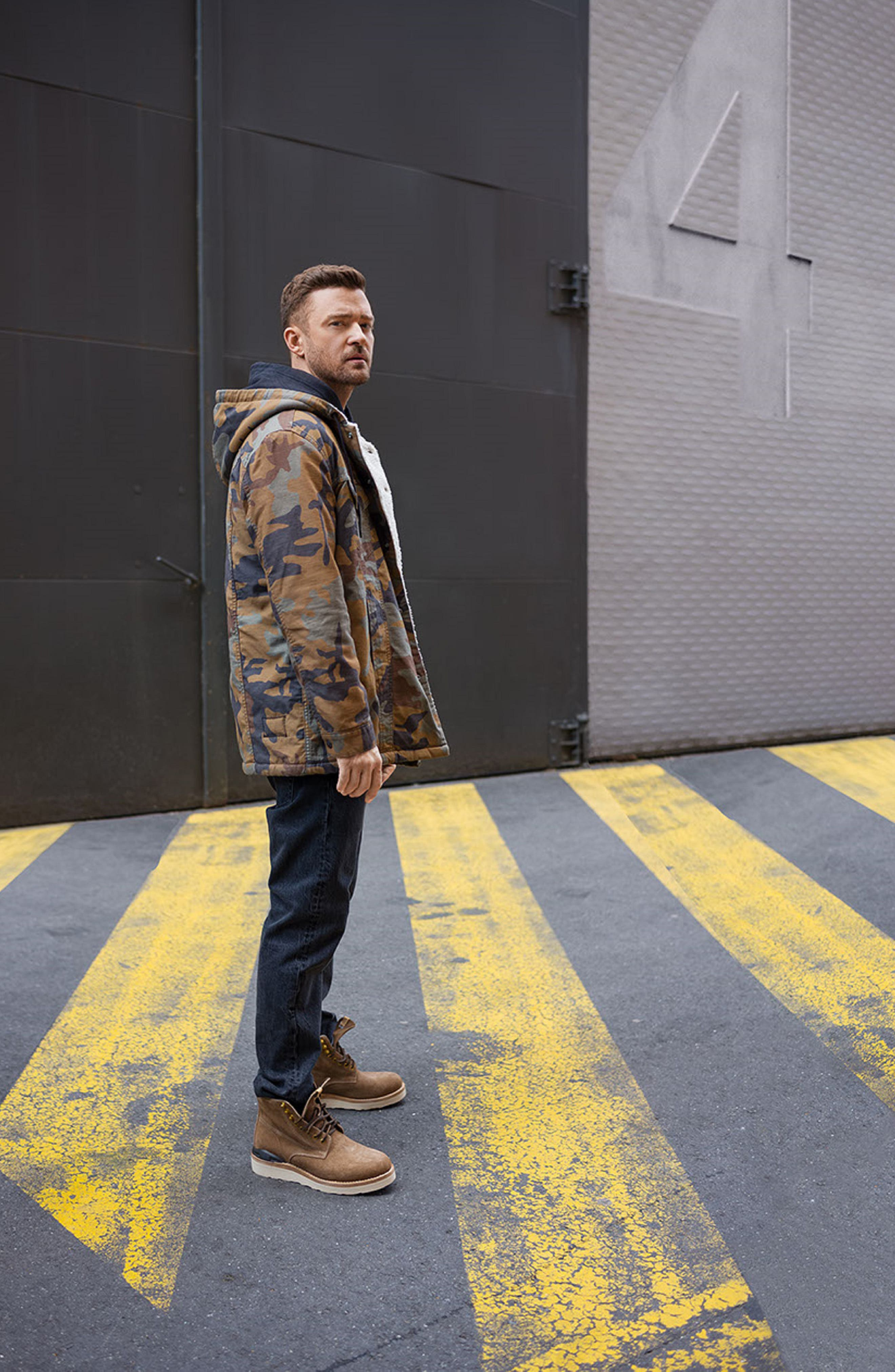 x Justin Timberlake Faux Shearling Hooded Trucker Jacket,                             Alternate thumbnail 11, color,                             CAMO