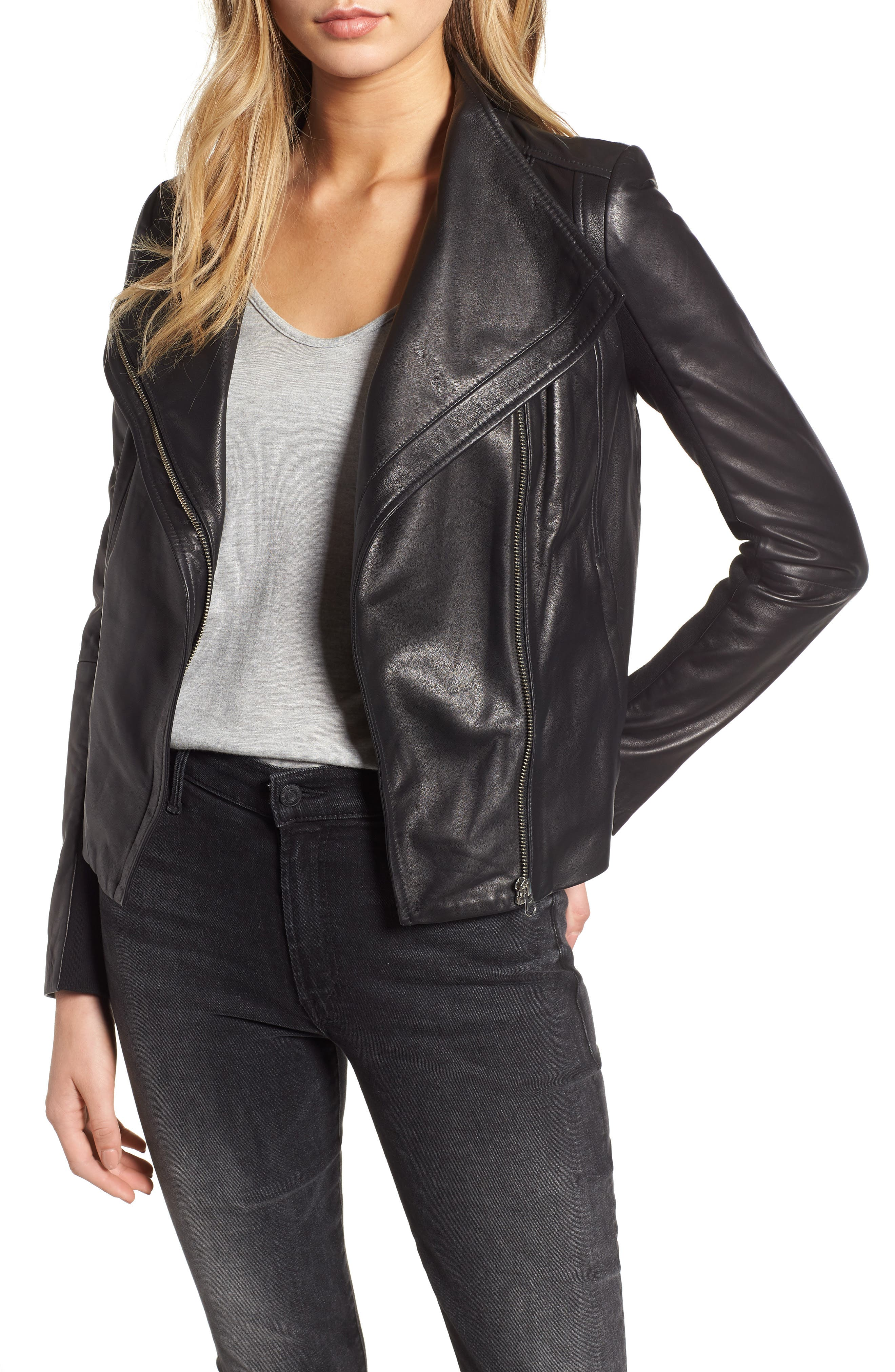 Leather Moto Jacket,                             Alternate thumbnail 2, color,                             BLACK