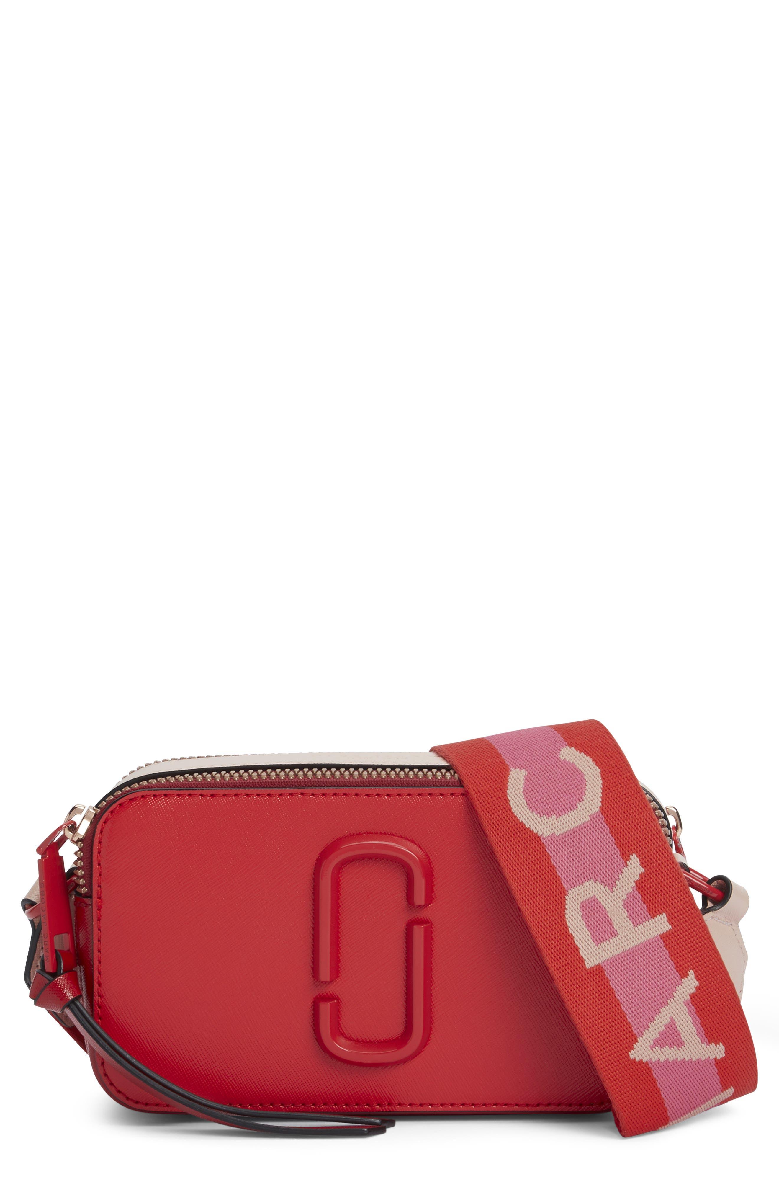 Snapshot Leather Crossbody Bag - Red in Poppy Red Multi