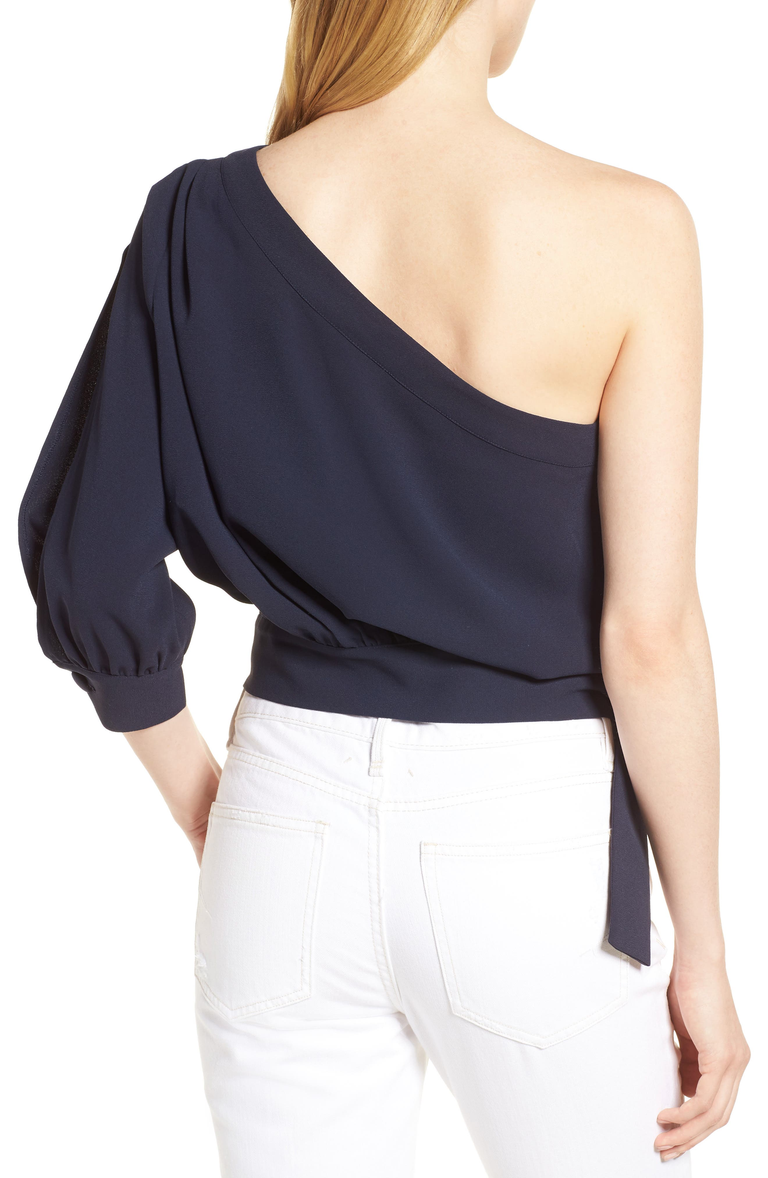 Mia One-Shoulder Side Tie Top,                             Alternate thumbnail 2, color,                             NIGHT SKY