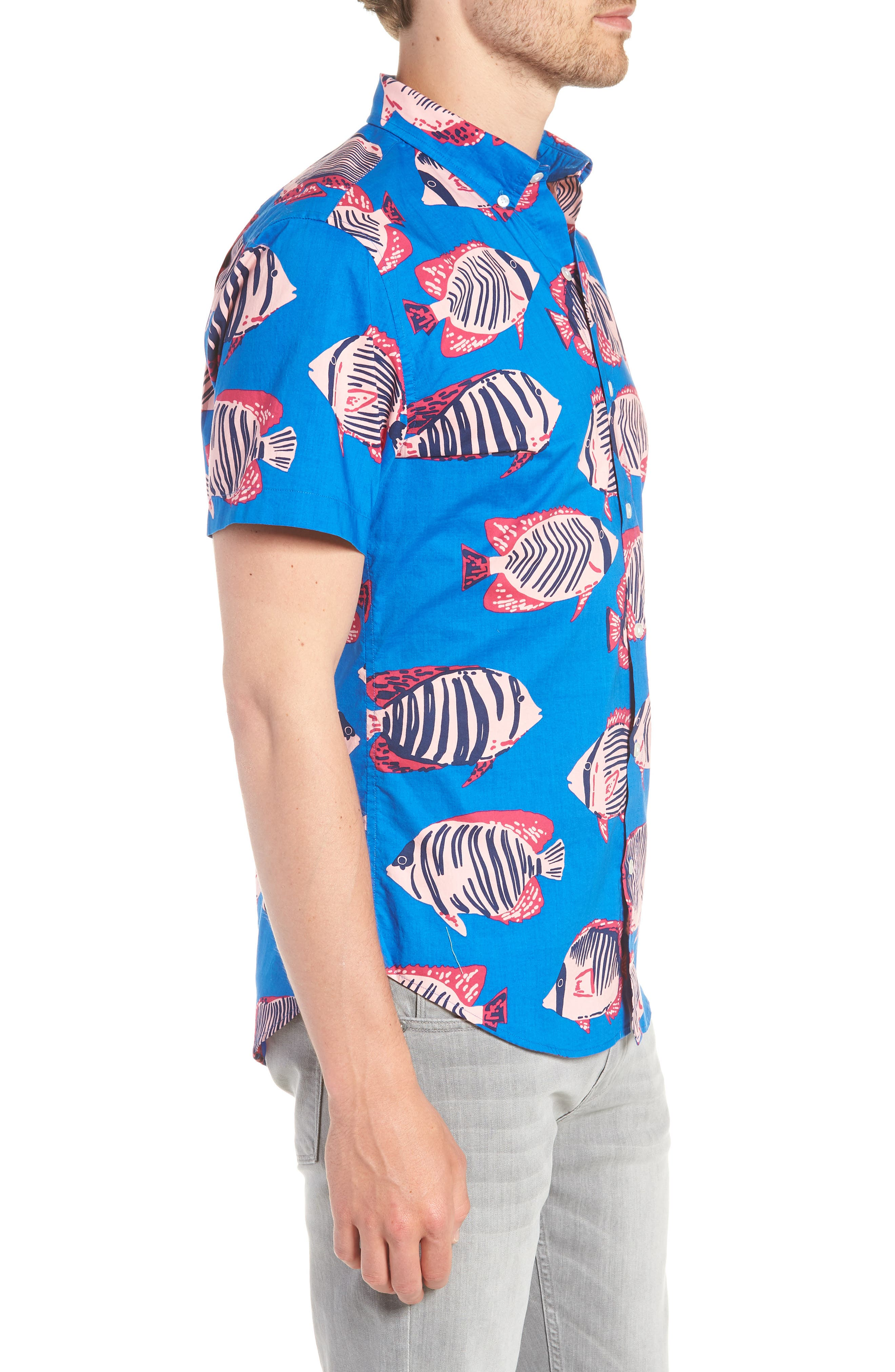 Riviera Slim Fit Fish Print Sport Shirt,                             Alternate thumbnail 3, color,                             400