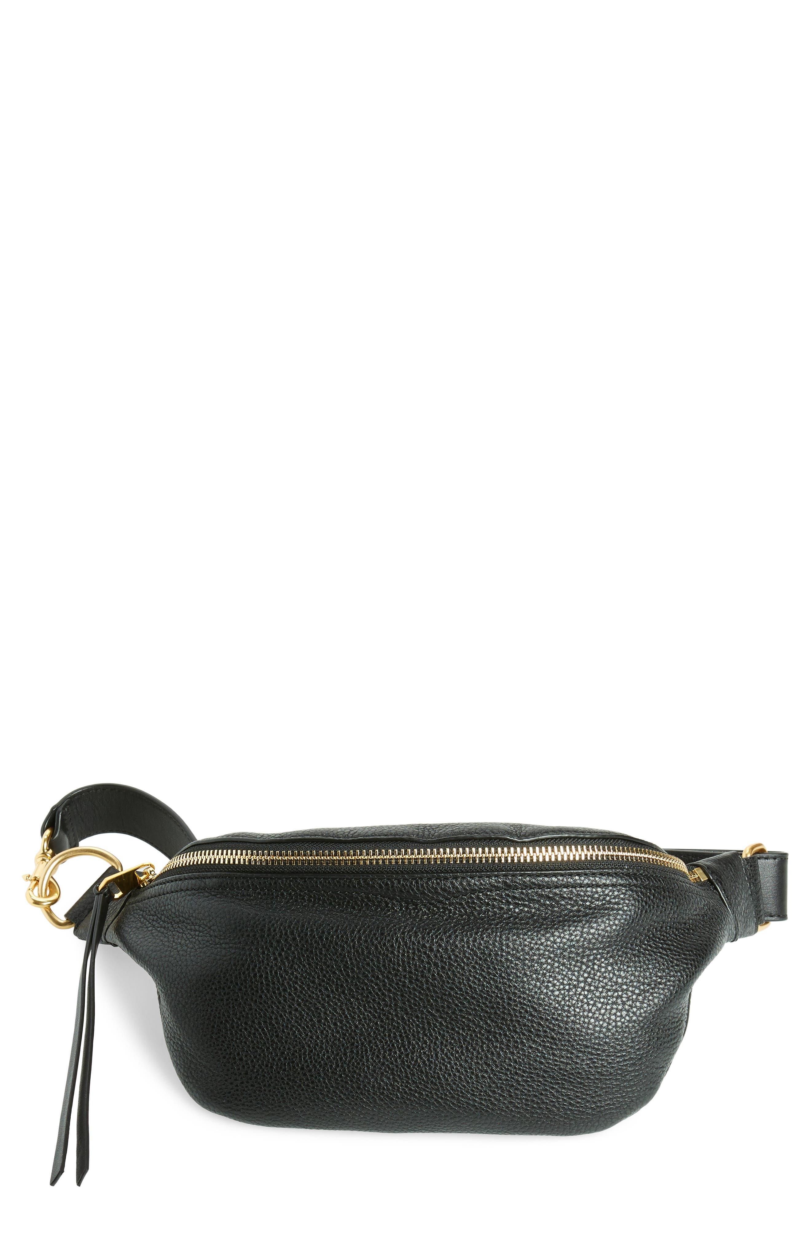 Bree Leather Belt Bag,                         Main,                         color, BLACK