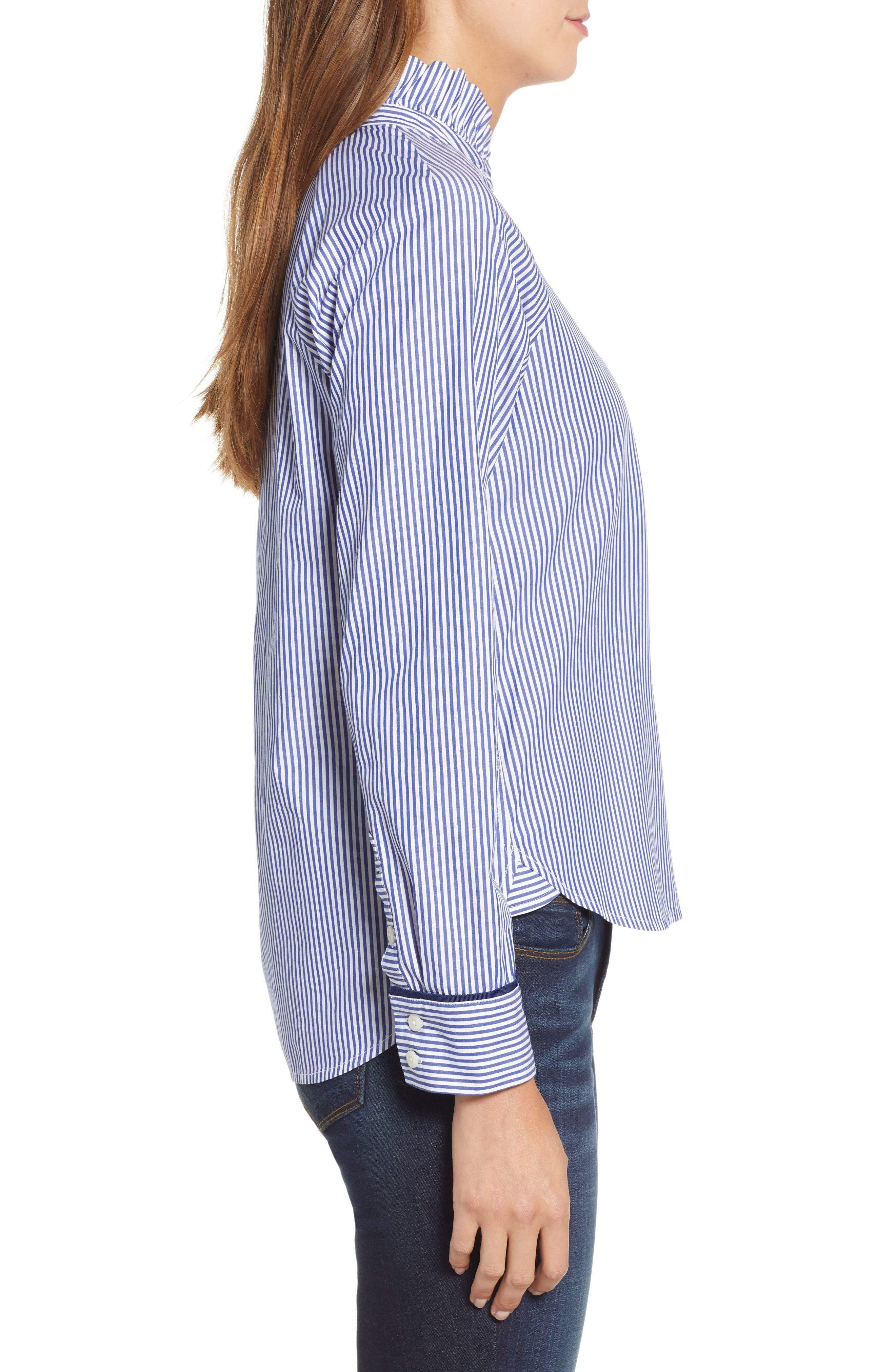 VINEYARD VINES,                             Stripe Ruffle Shirt,                             Alternate thumbnail 3, color,                             474