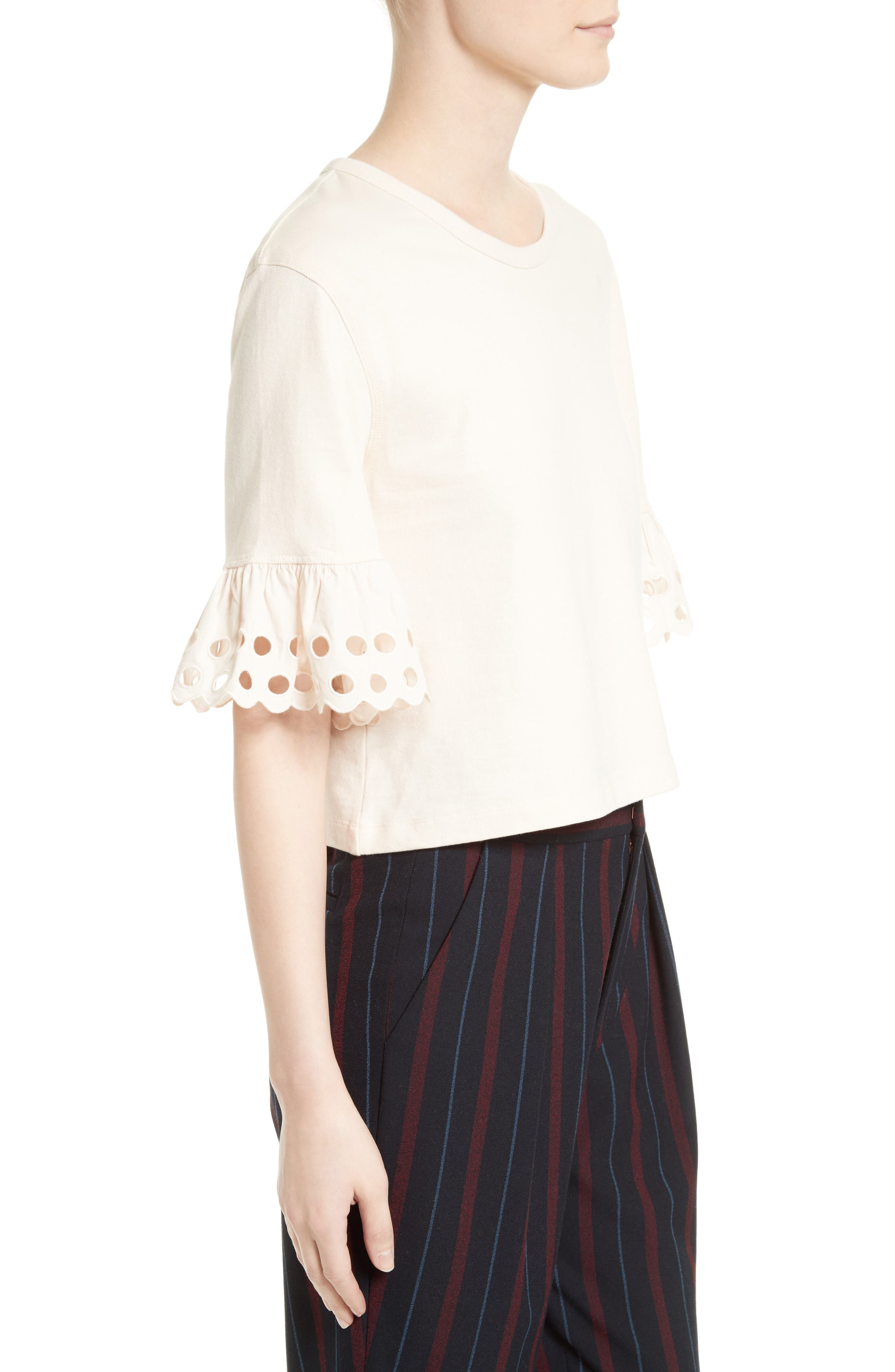 Ruffle Sleeve Boxy Tee,                             Alternate thumbnail 3, color,                             650