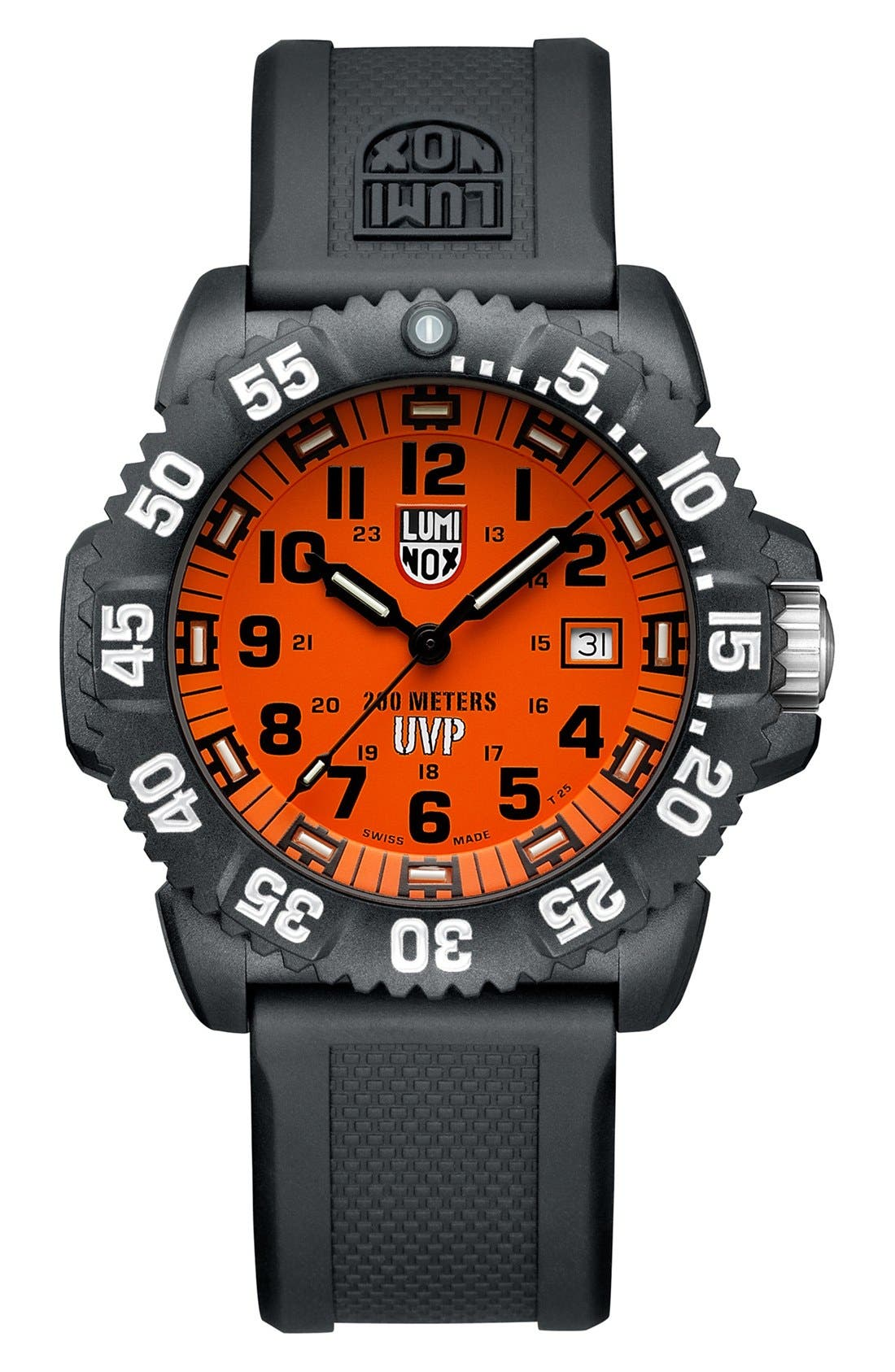 'Scott Cassell Special Edition' Polyurethane Strap Watch, 44mm,                             Main thumbnail 1, color,                             001