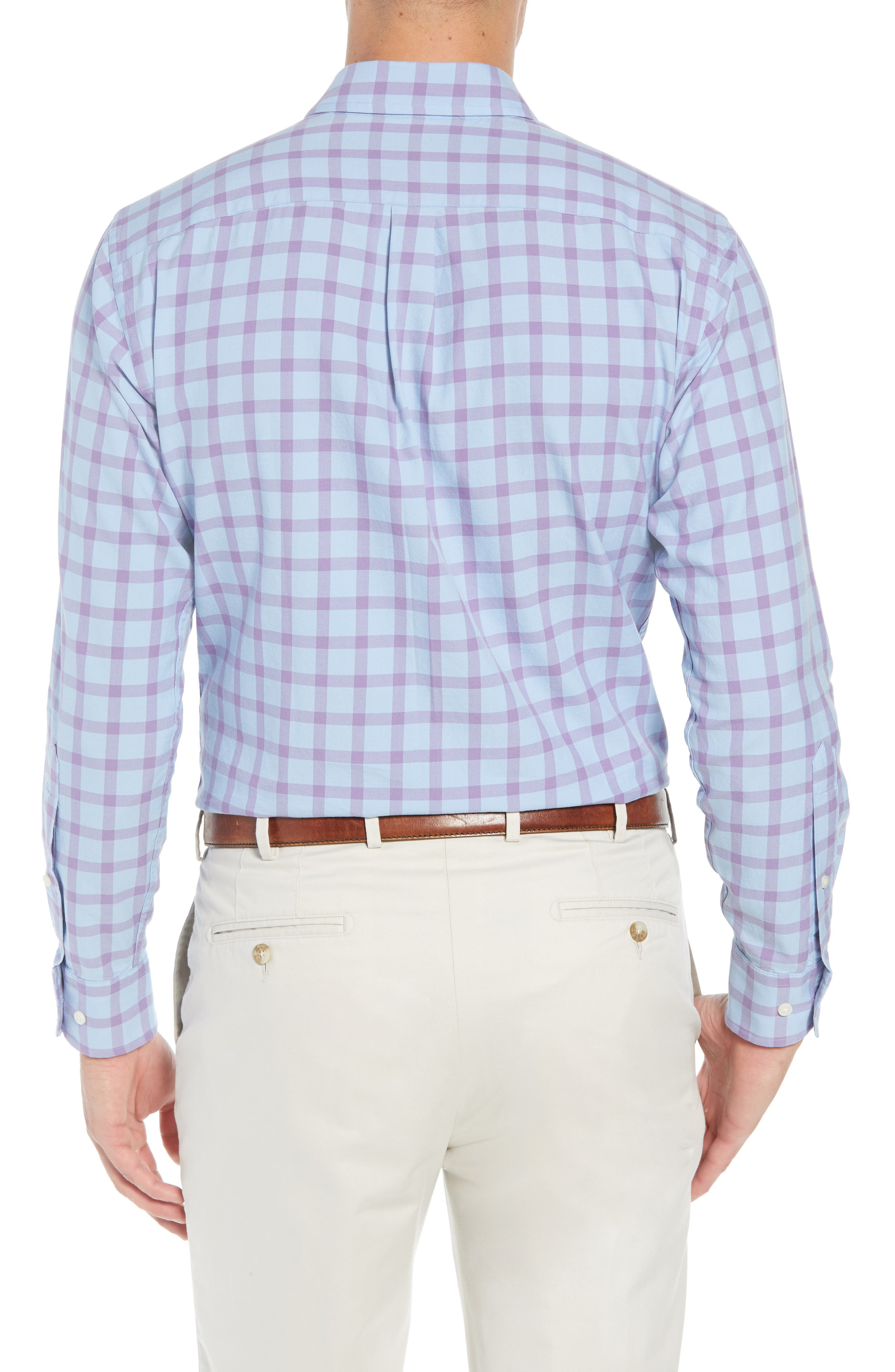 Castin Regular Fit Tattersall Check Sport Shirt,                             Alternate thumbnail 3, color,                             BLUE