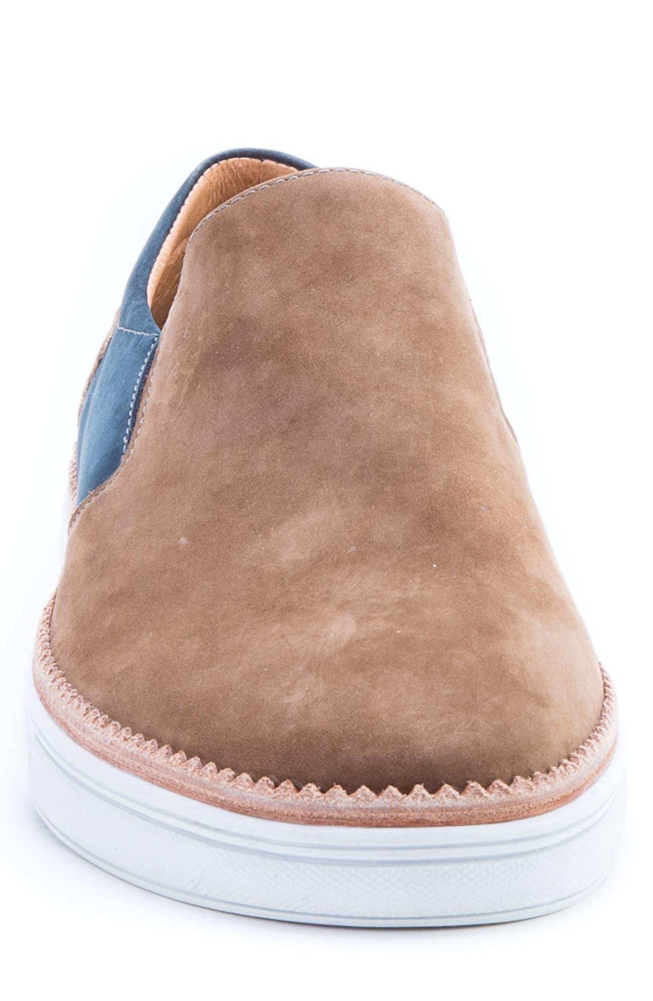 Rivera Colorblocked Slip-On Sneaker,                             Alternate thumbnail 4, color,                             COGNAC SUEDE
