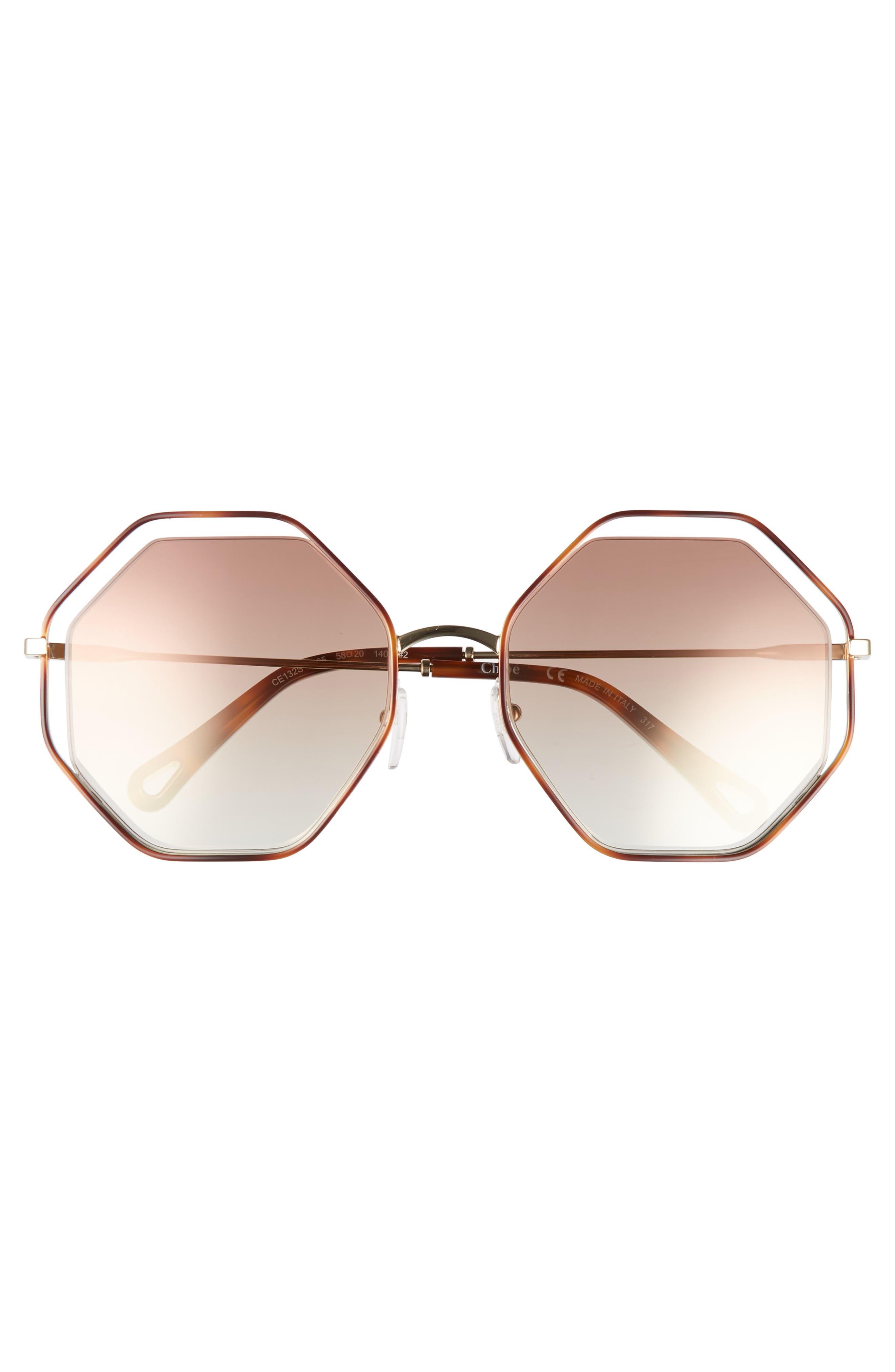 58mm Octagonal Halo Lens Sunglasses,                             Alternate thumbnail 3, color,                             HAVANA/ BRONZE
