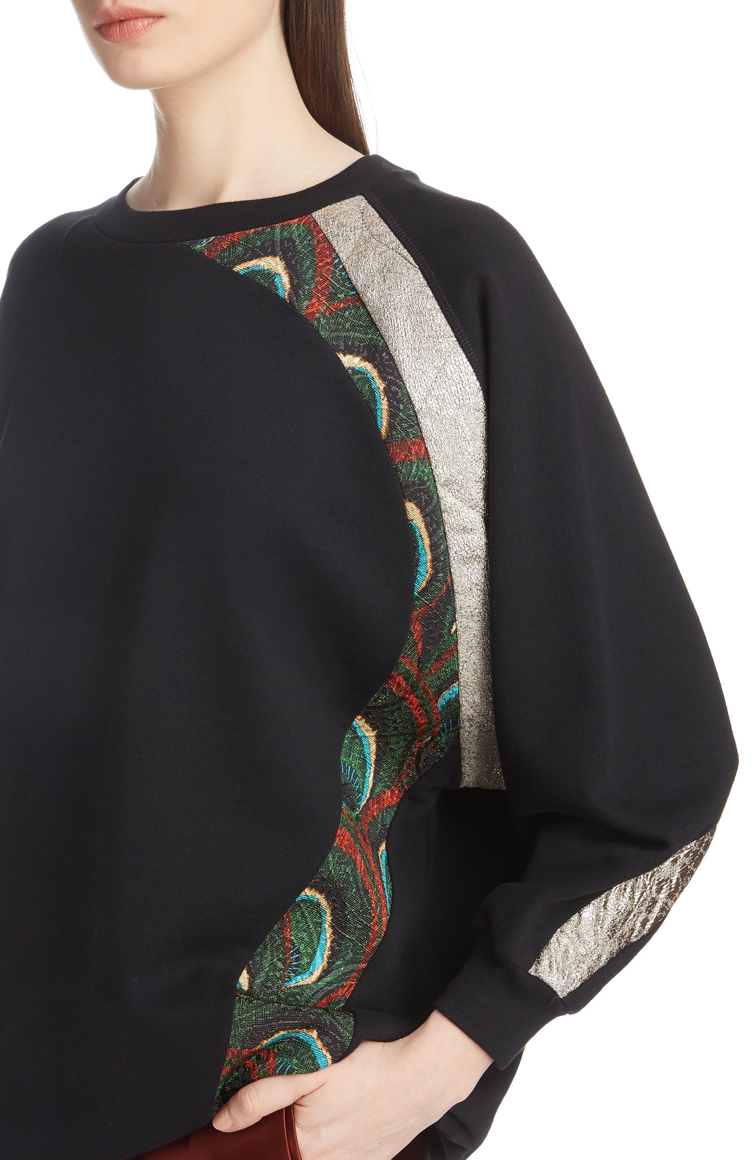 Metallic & Peacock Inset Sweatshirt,                             Alternate thumbnail 4, color,                             BLACK