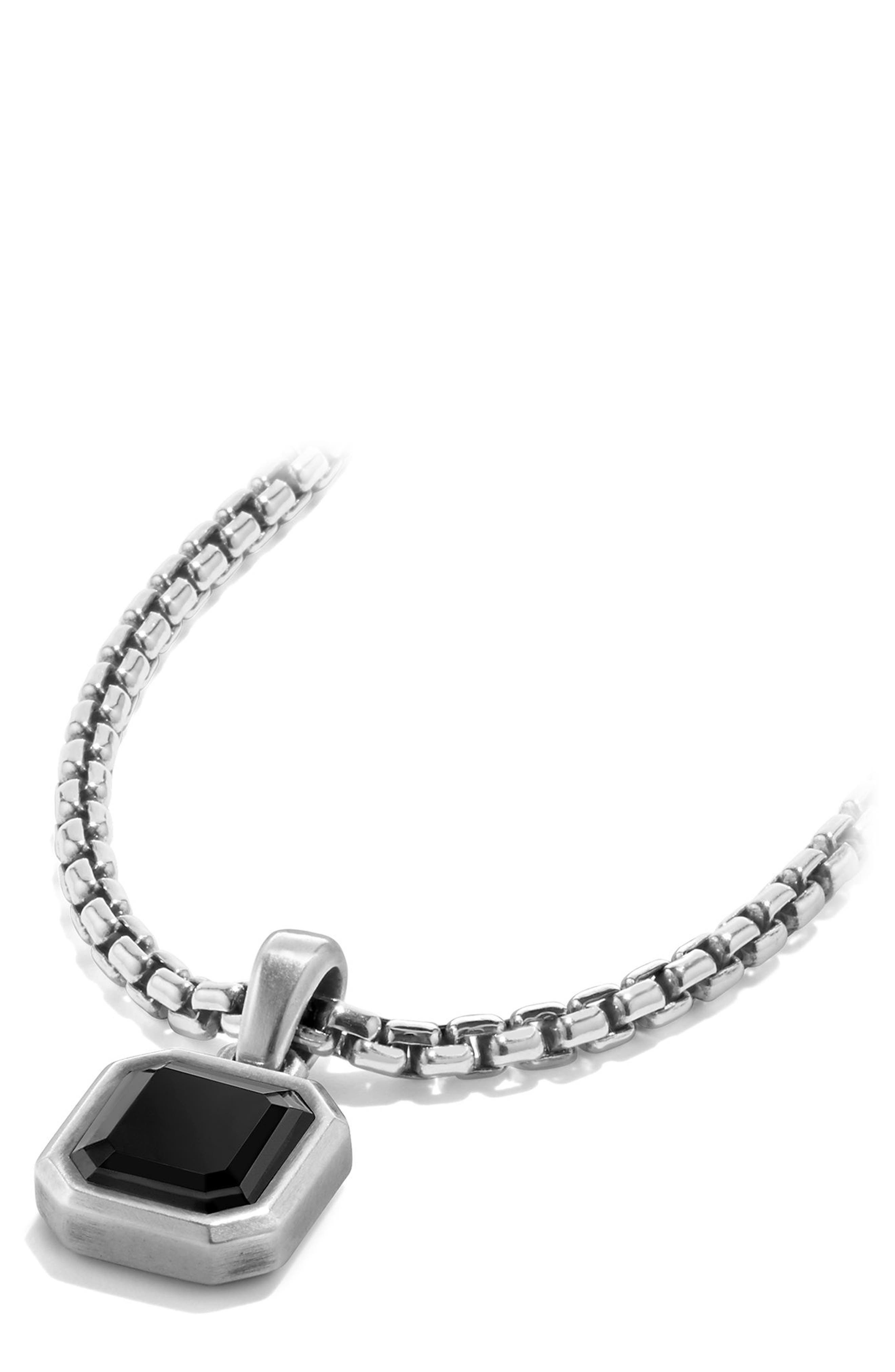 Emerald Cut Semiprecious Stone Amulet,                             Alternate thumbnail 4, color,                             SILVER/ BLACK ONYX