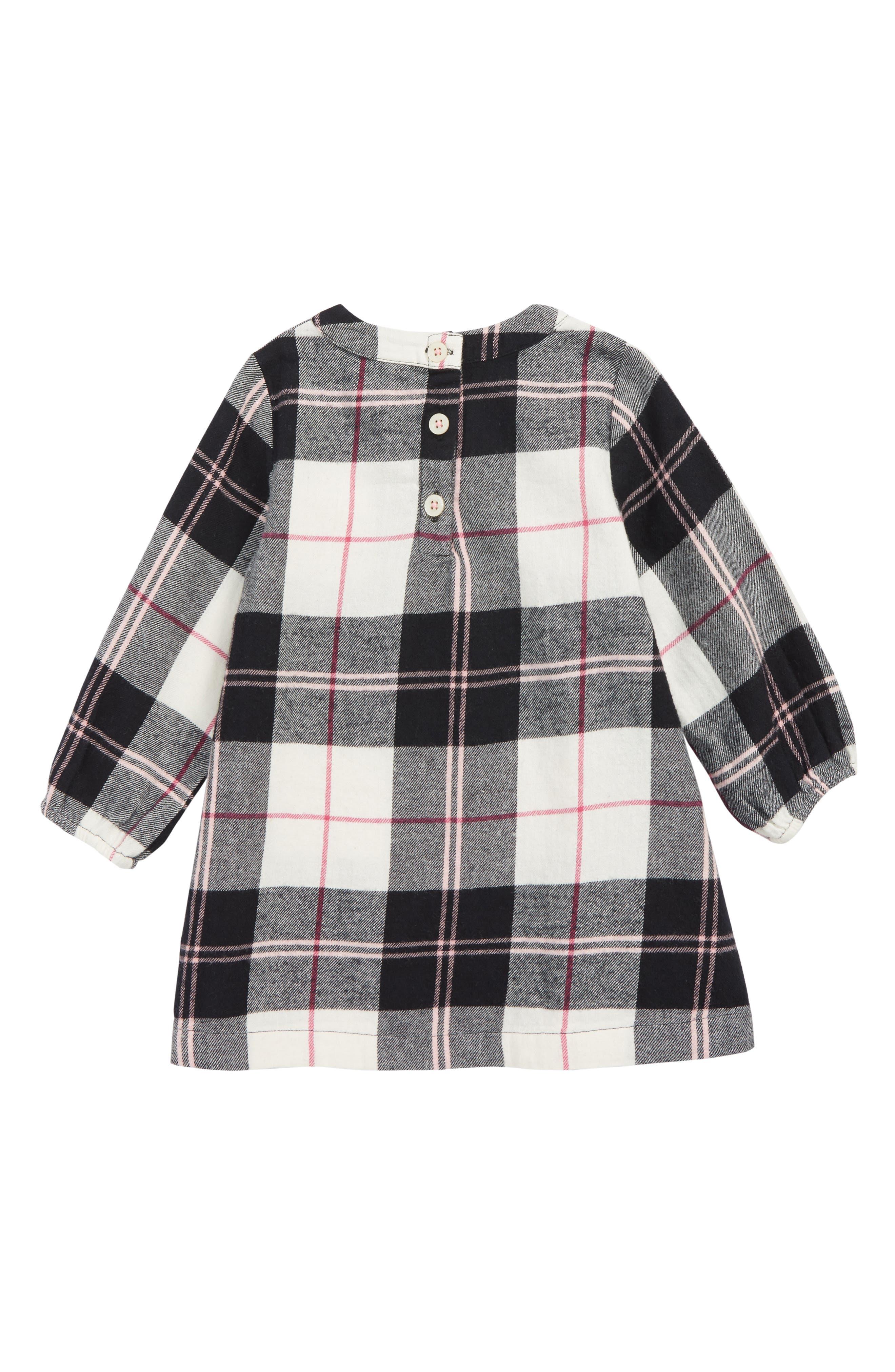 Flannel Dress,                             Alternate thumbnail 2, color,                             BLACK- IVORY WINDOW BUFFALO