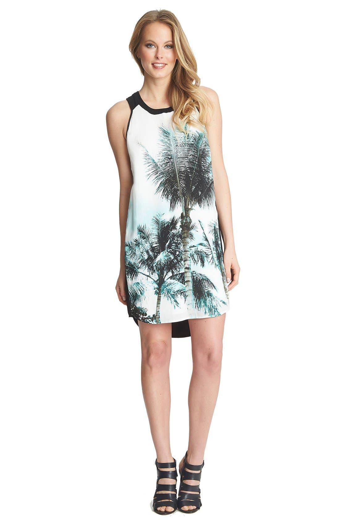 'Palm Whimsy' Sleeveless Shift Dress,                         Main,                         color, 440