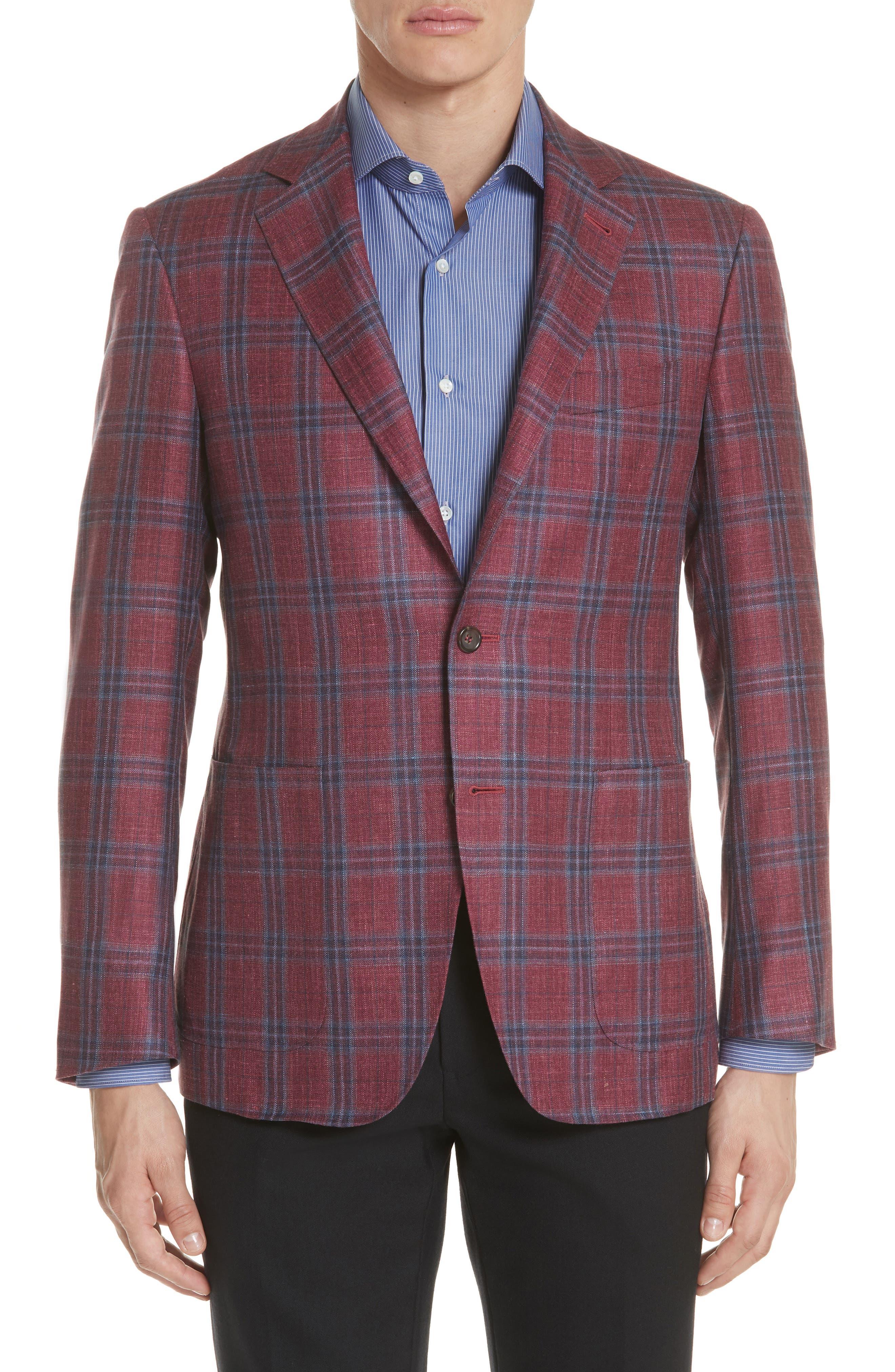 Regular Fit Wool Blend Plaid Sport Coat,                             Main thumbnail 1, color,