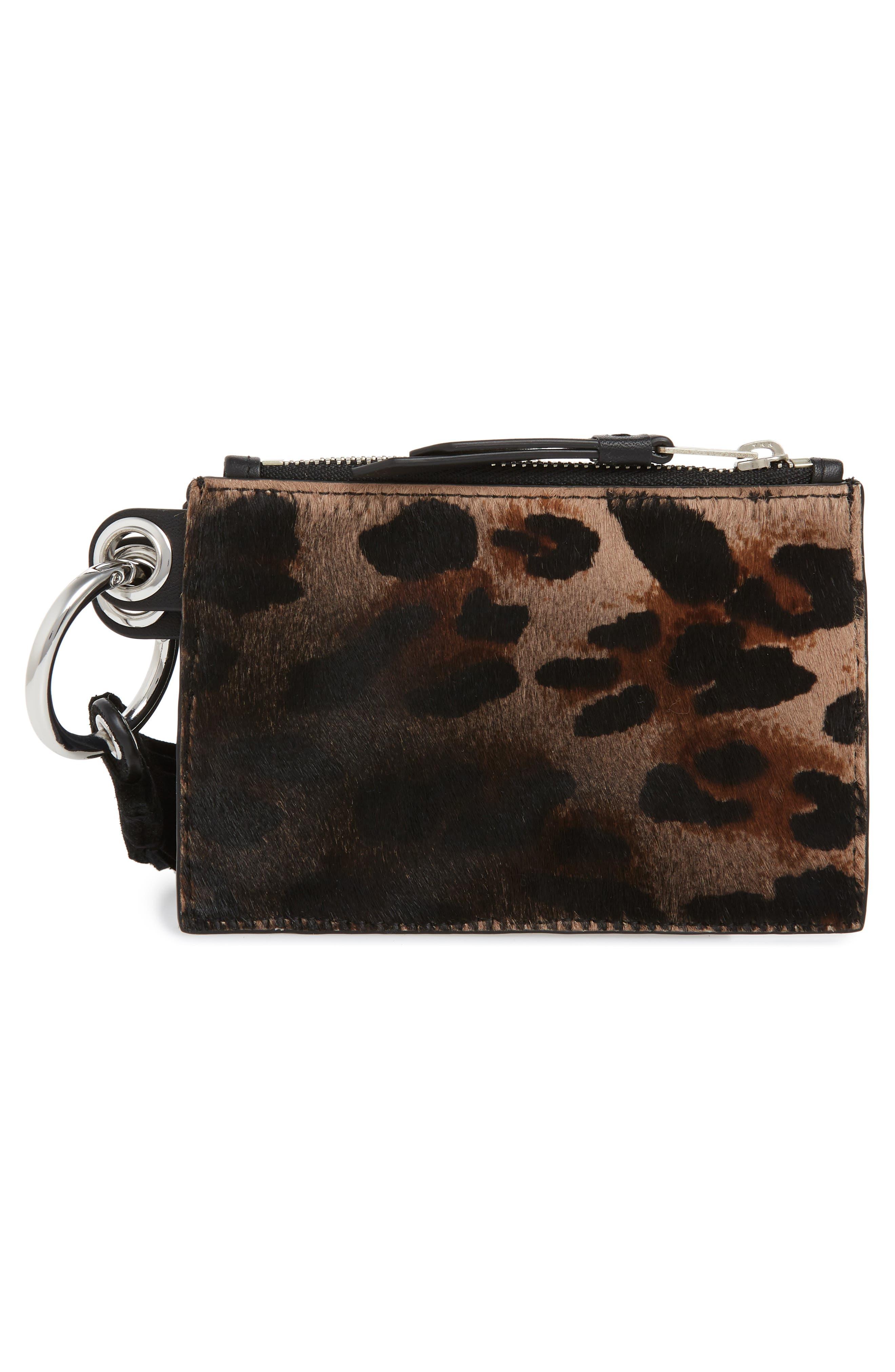 Genuine Calf Hair Leopard Print Key Fob,                             Alternate thumbnail 2, color,                             LEOPARD/ BLACK