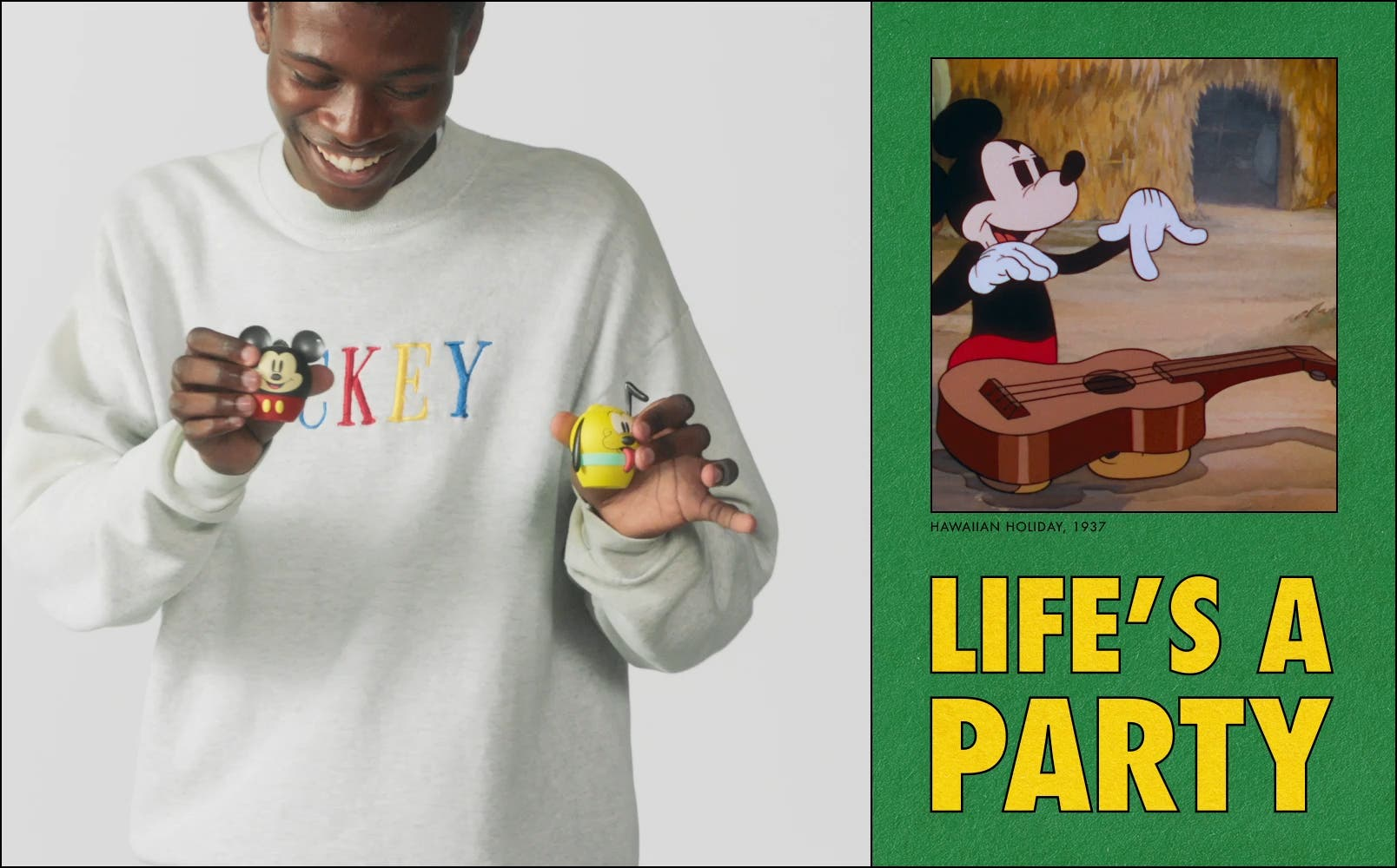 Video of models in Disney jackets and sweatshirts dancing with mini Disney speakers; video of Daisy Duck dancing with Huey, Dewey, and Louie.