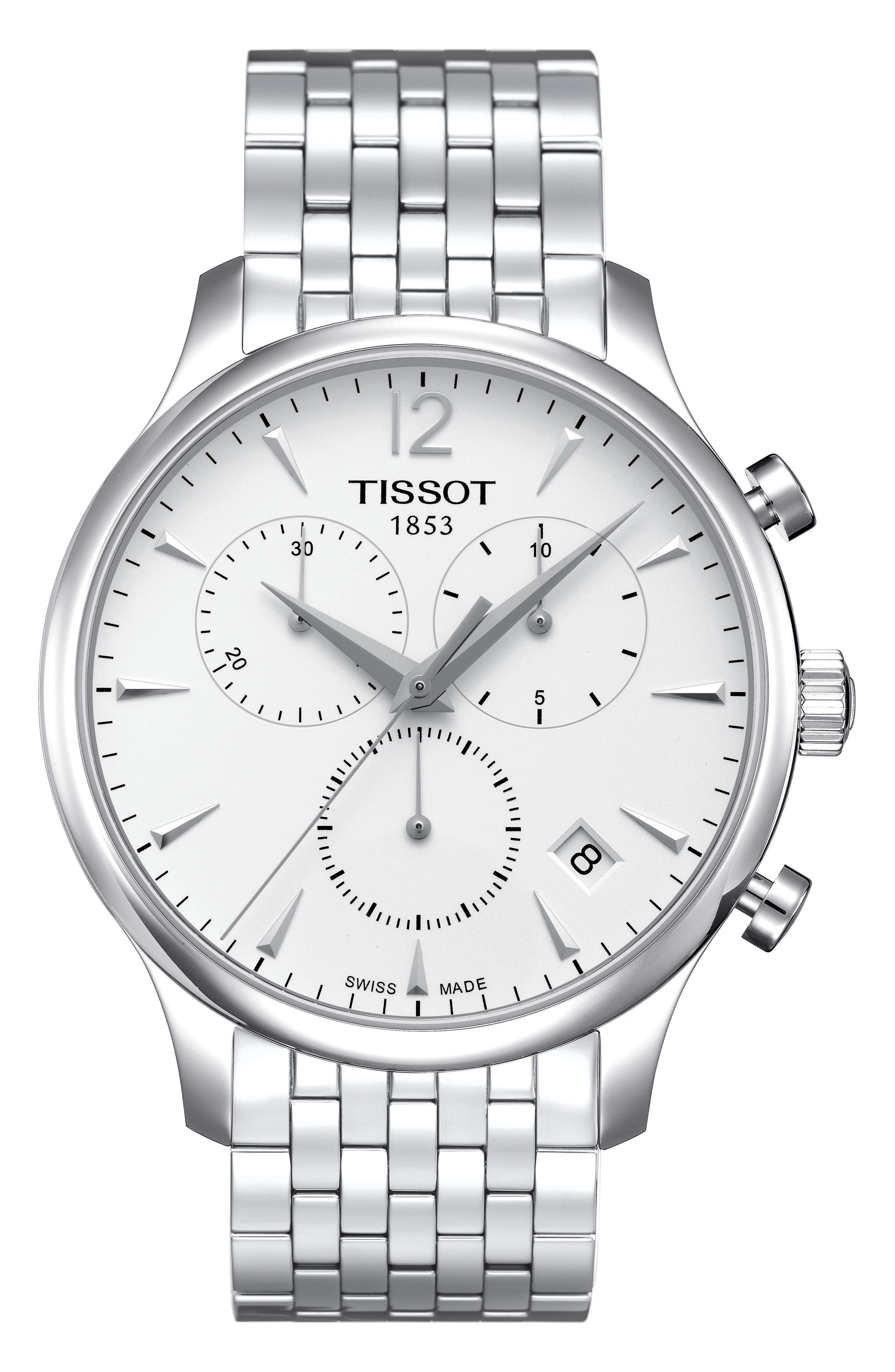 Tradition Chronograph Bracelet Watch, 42mm,                             Main thumbnail 1, color,                             SILVER
