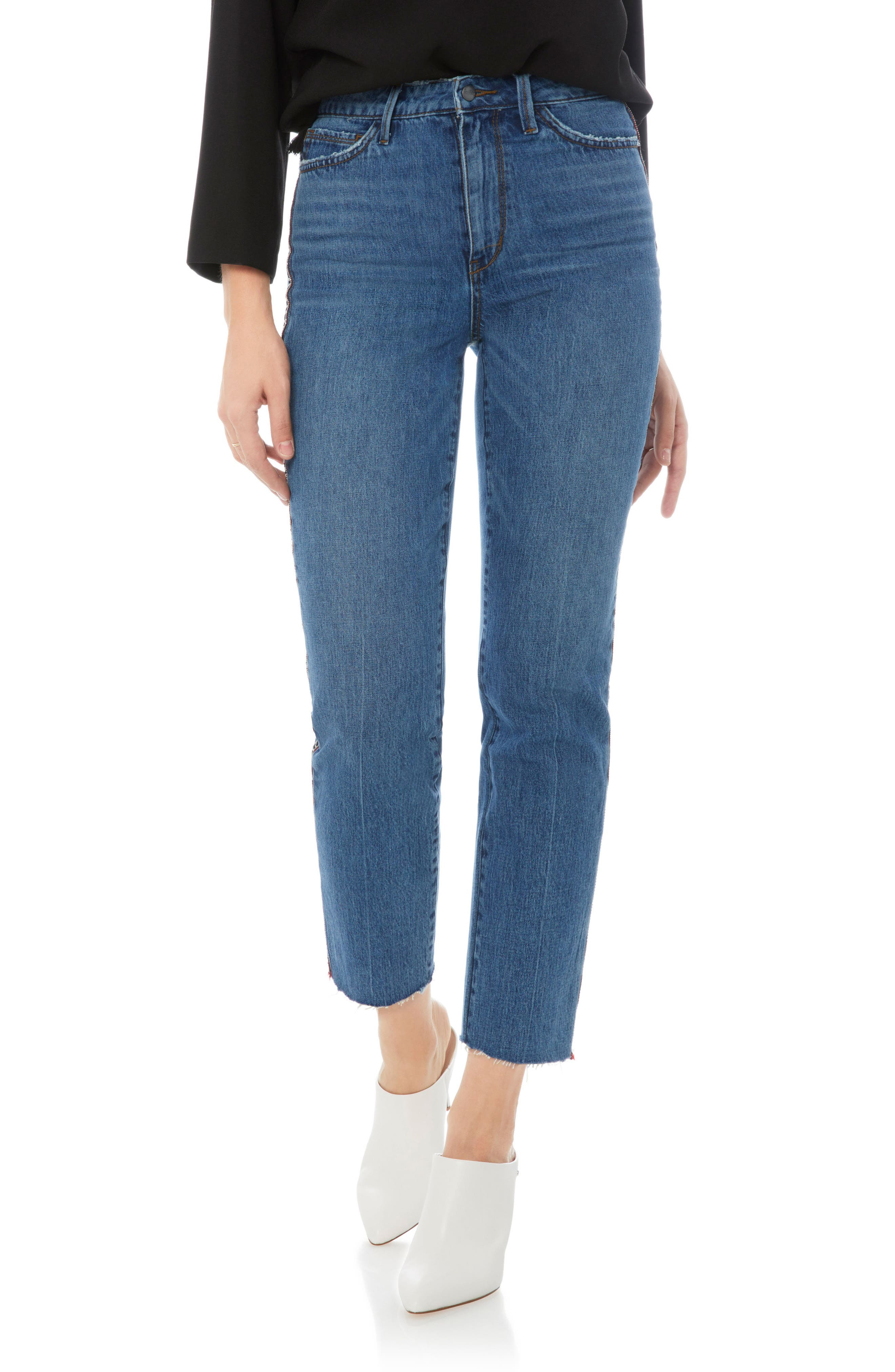 Mary Jane Raw Edge Crop Jeans,                         Main,                         color,