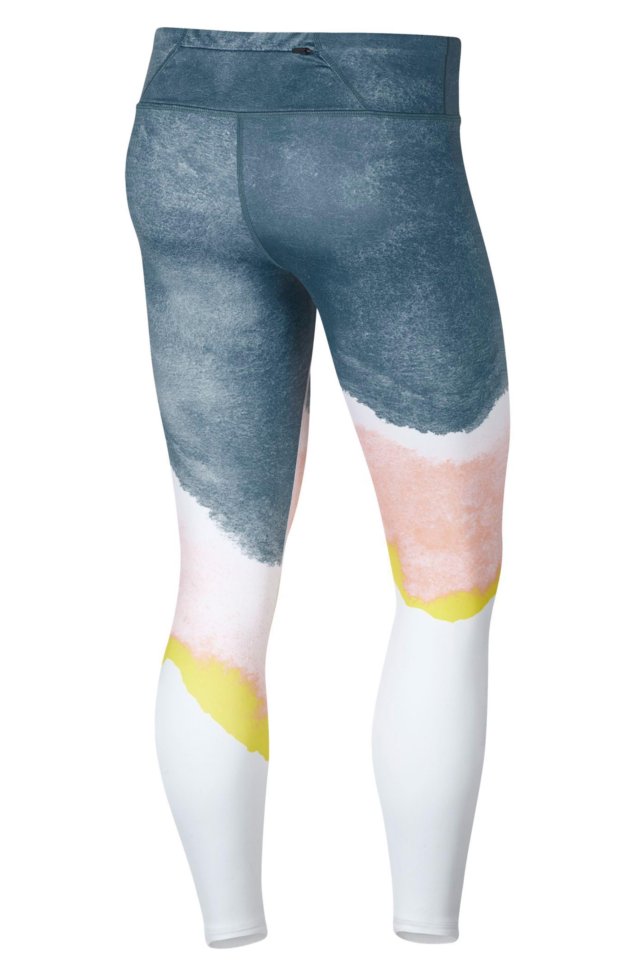 Epic Lux Running Leggings,                             Alternate thumbnail 8, color,                             WHITE/ STORM PINK/ GOLD
