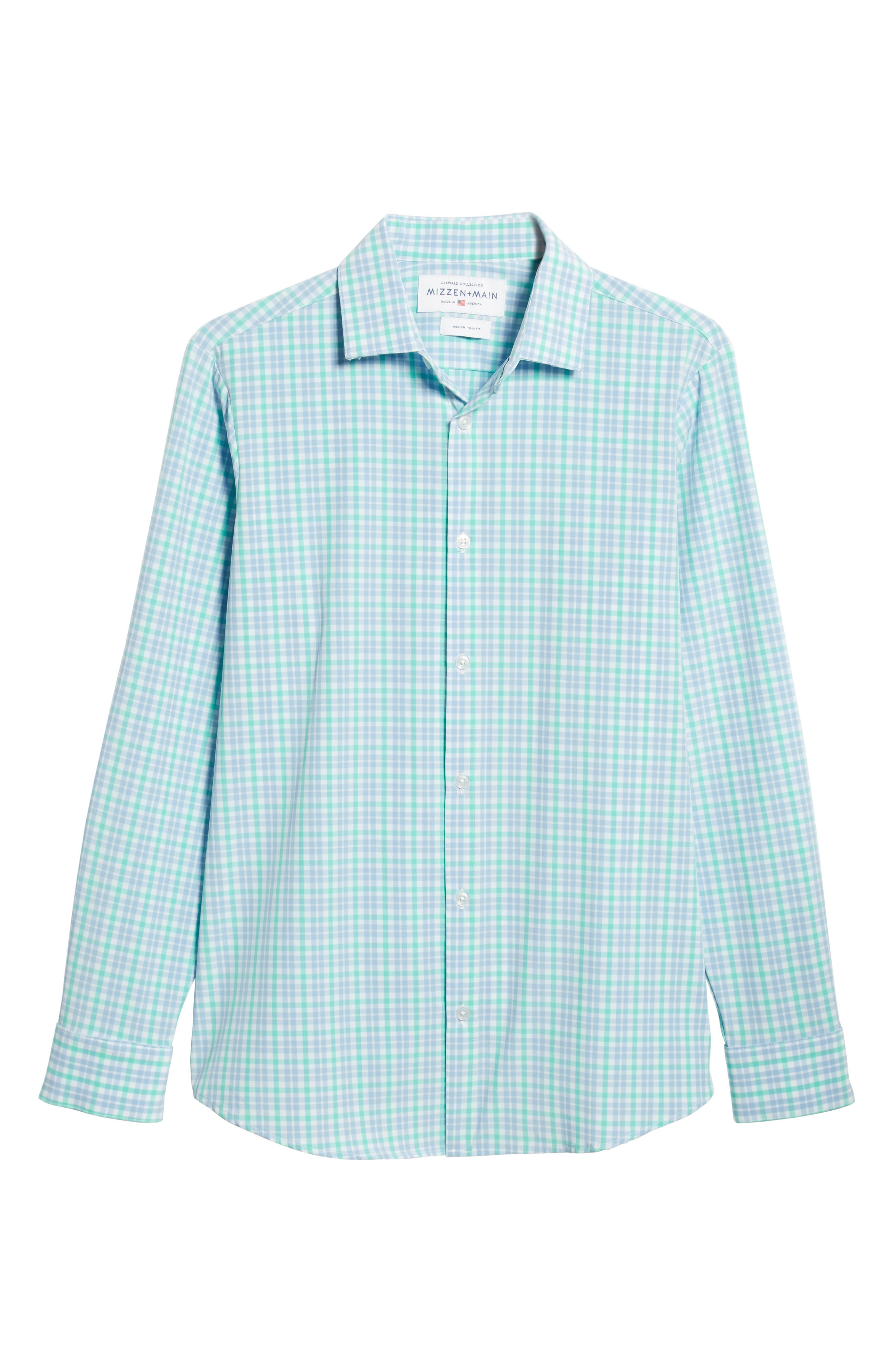 Knoll Regular Fit Plaid Performance Sport Shirt,                             Alternate thumbnail 5, color,                             GREEN
