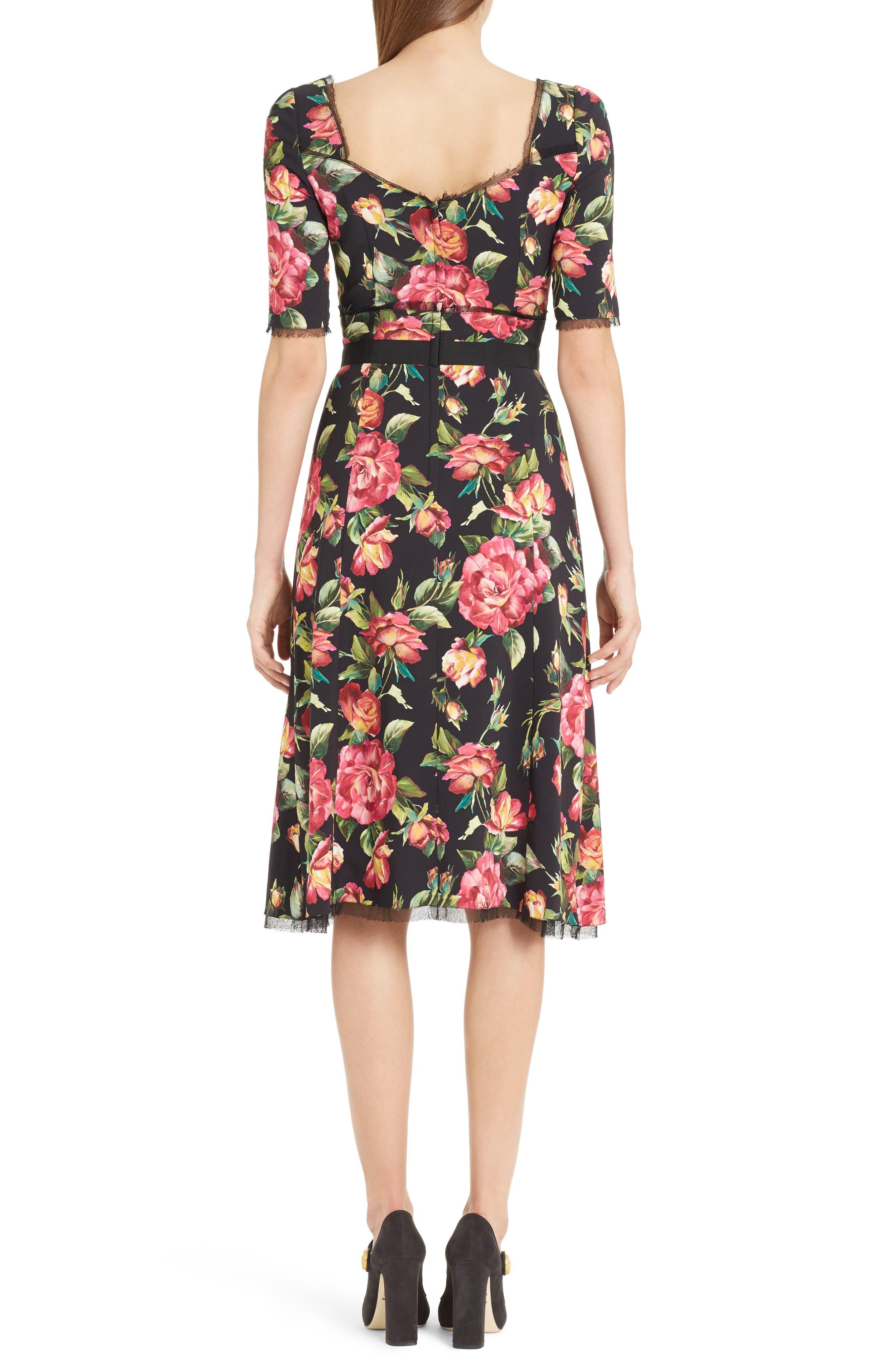 Rose Print Cady A-Line Dress,                             Alternate thumbnail 2, color,                             001