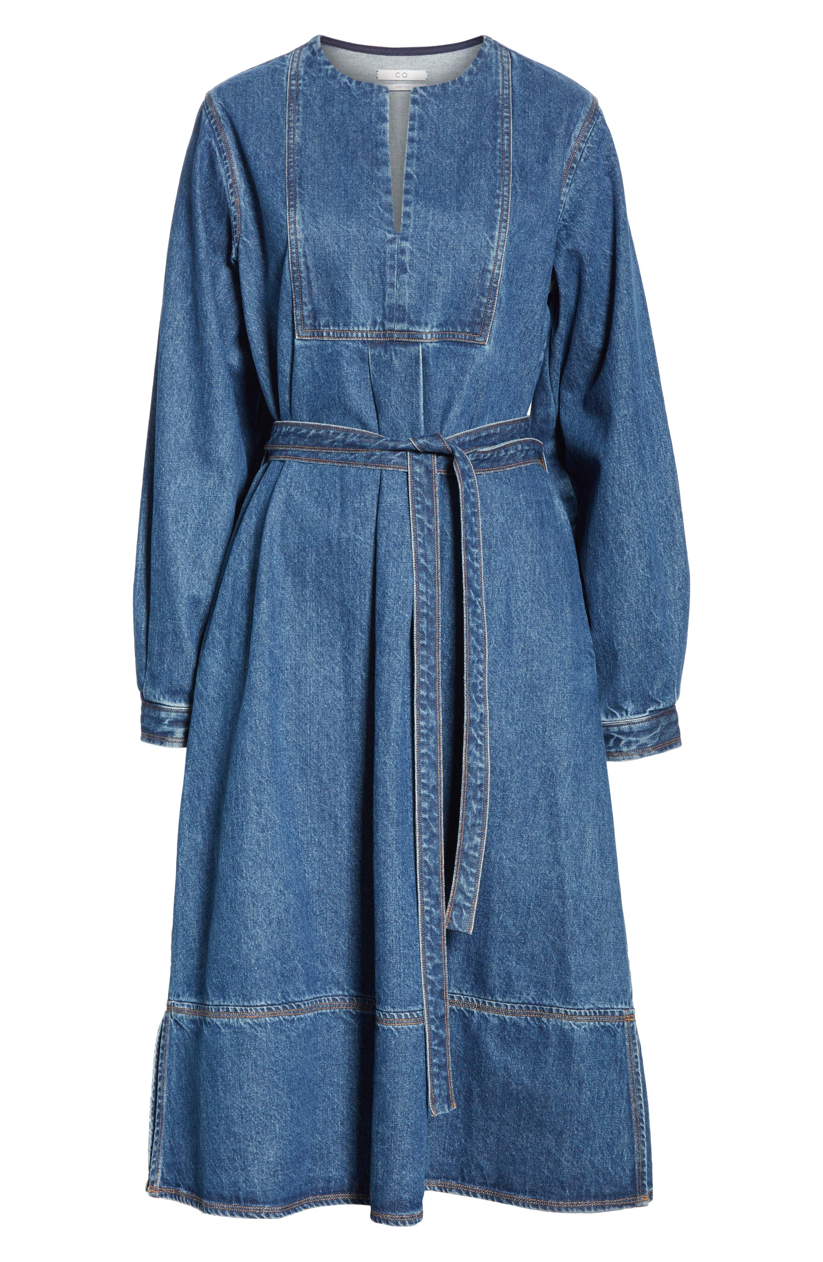 Denim A-Line Dress,                             Alternate thumbnail 7, color,                             INDIGO