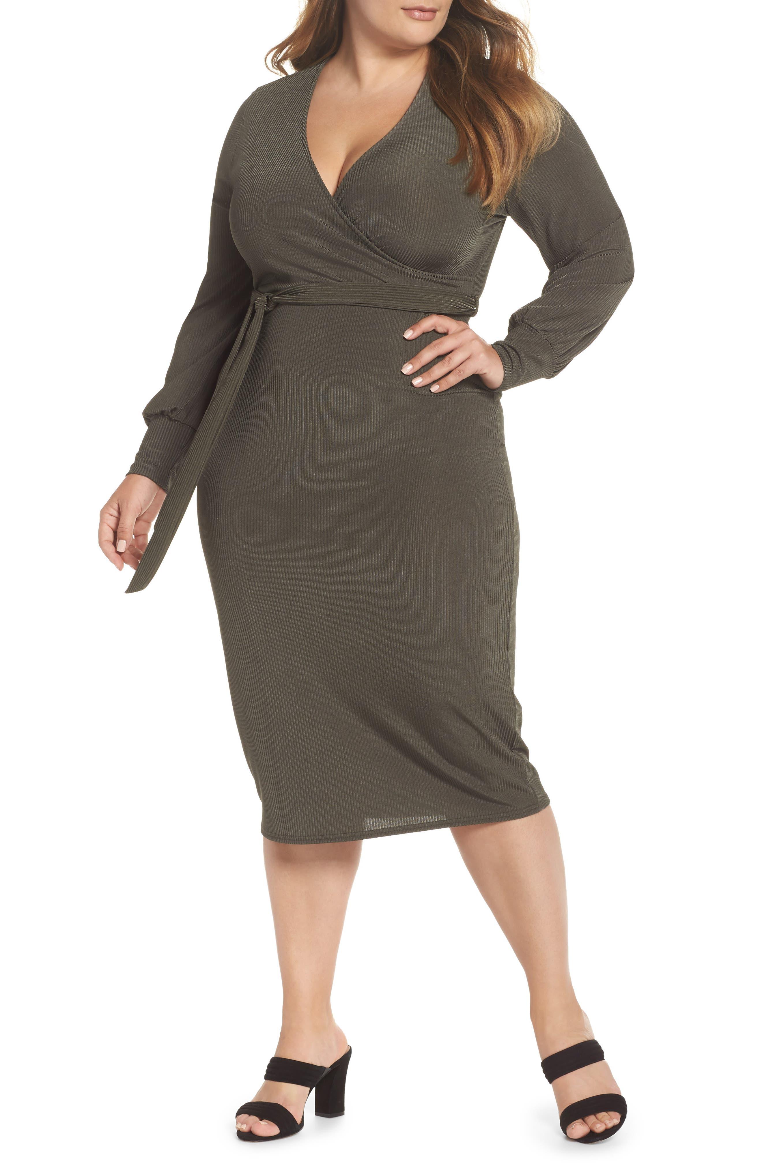 Ribbed Faux Wrap Dress,                             Main thumbnail 1, color,                             300