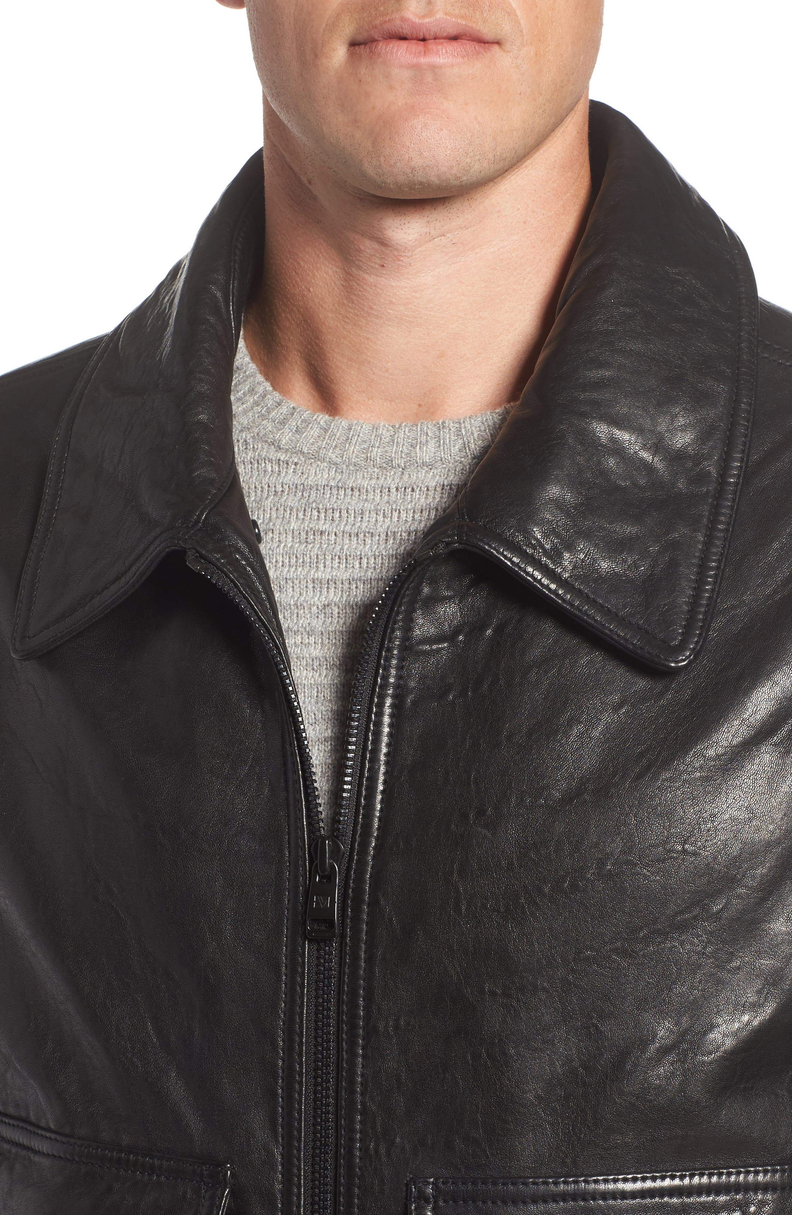 3614 Leather Jacket with Genuine Lamb Shearling Collar,                             Alternate thumbnail 4, color,                             001