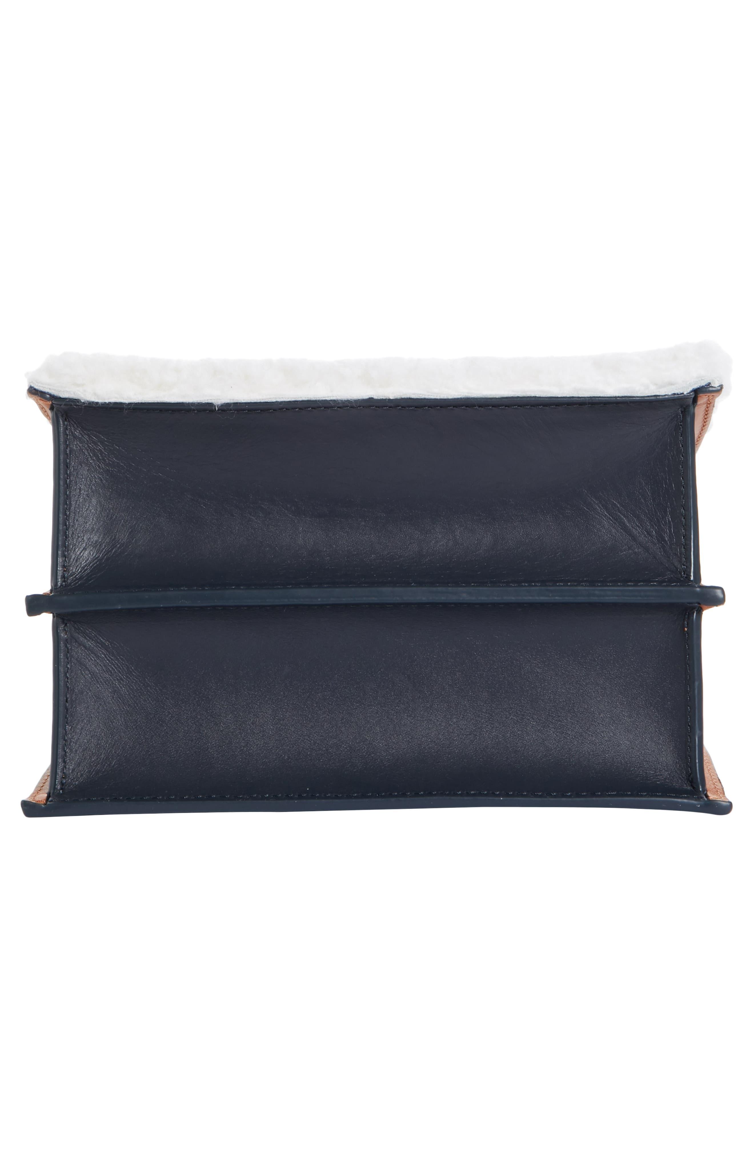 Mini Phoebe Leather Bag,                             Alternate thumbnail 6, color,                             CURLY SHEARLING WHITE-MARINE