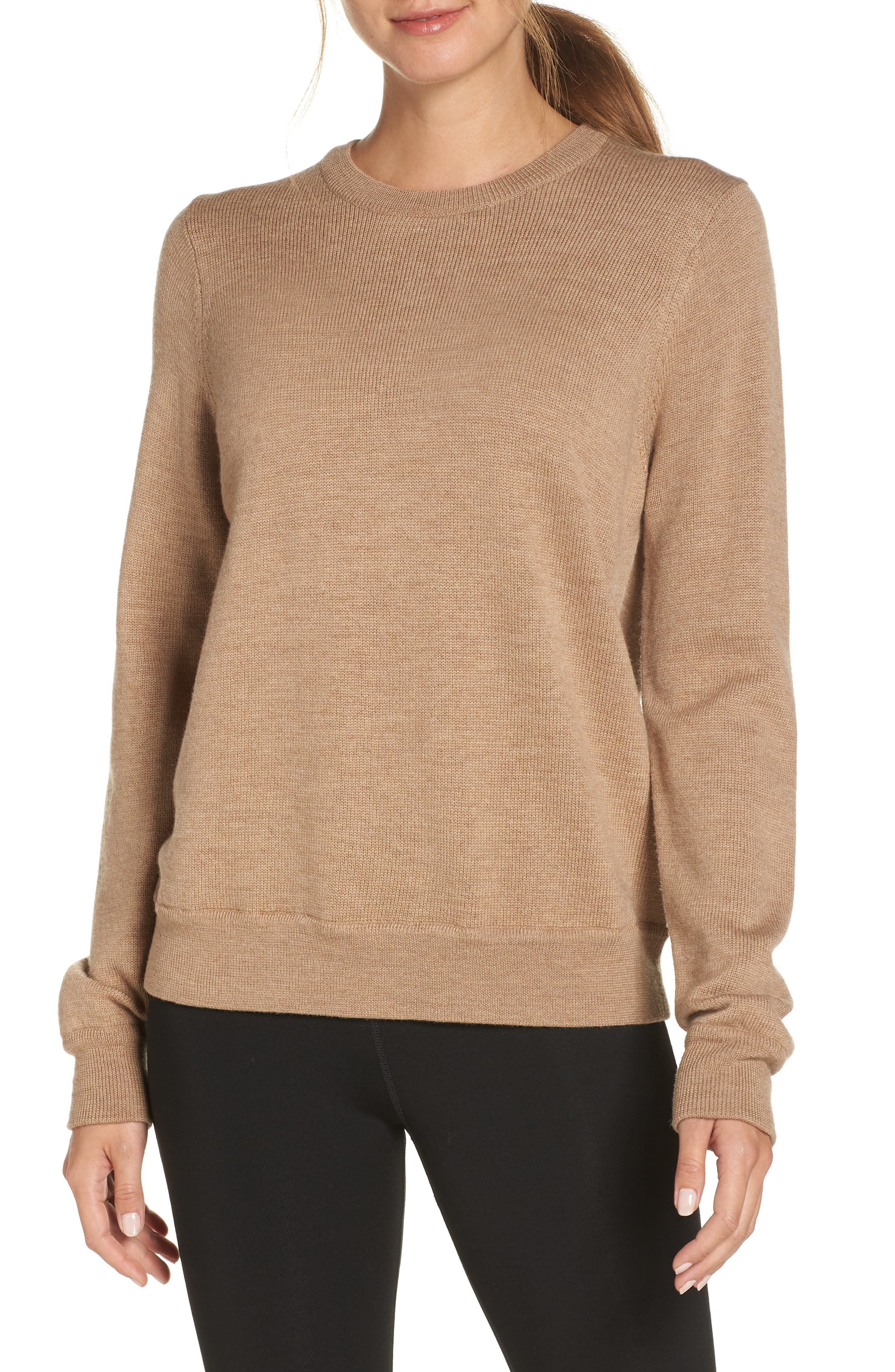 Muster Merino Wool Sweater,                         Main,                         color, CAMEL HEATHER