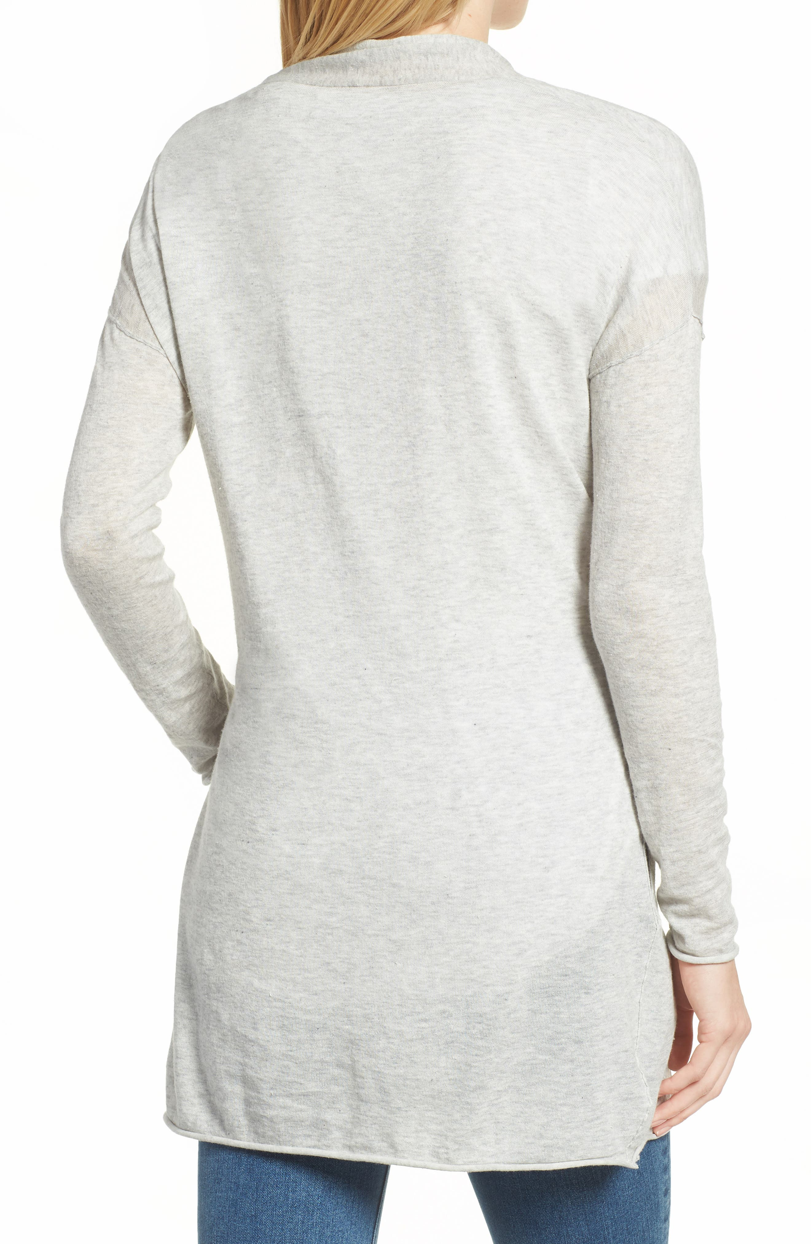 Belted Cotton Cardigan,                             Alternate thumbnail 2, color,                             HEATHER GREY