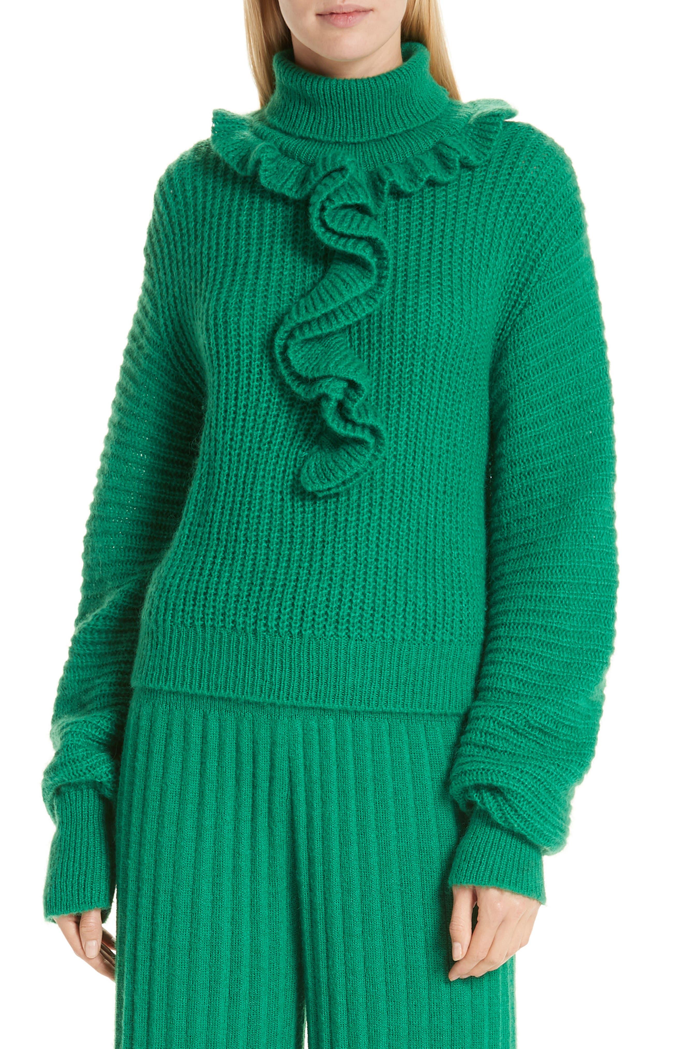 Ruffle Neck Sweater, Main, color, GRASS GREEN