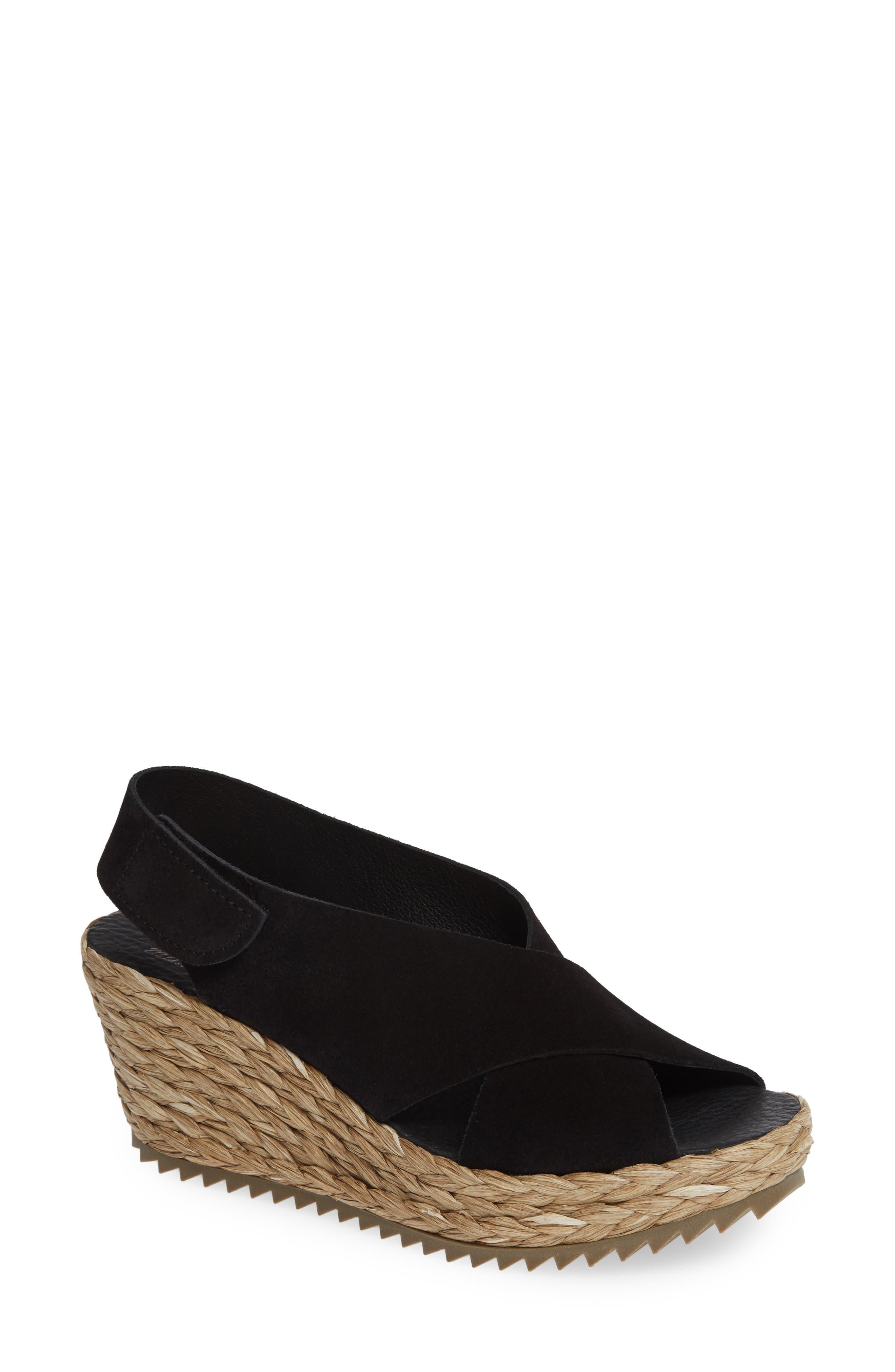 'Federica' Wedge Sandal,                             Main thumbnail 1, color,                             BLACK CASTORO/ RAFFIA