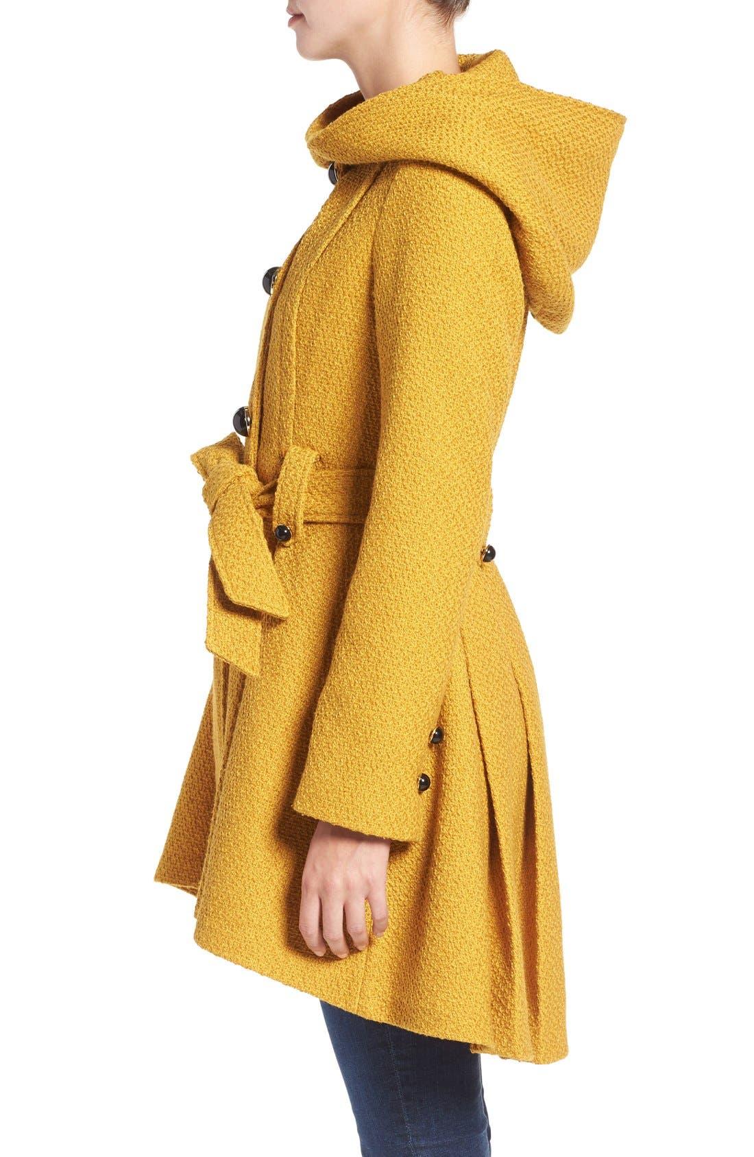 Belted Hooded Skirted Coat,                             Alternate thumbnail 20, color,