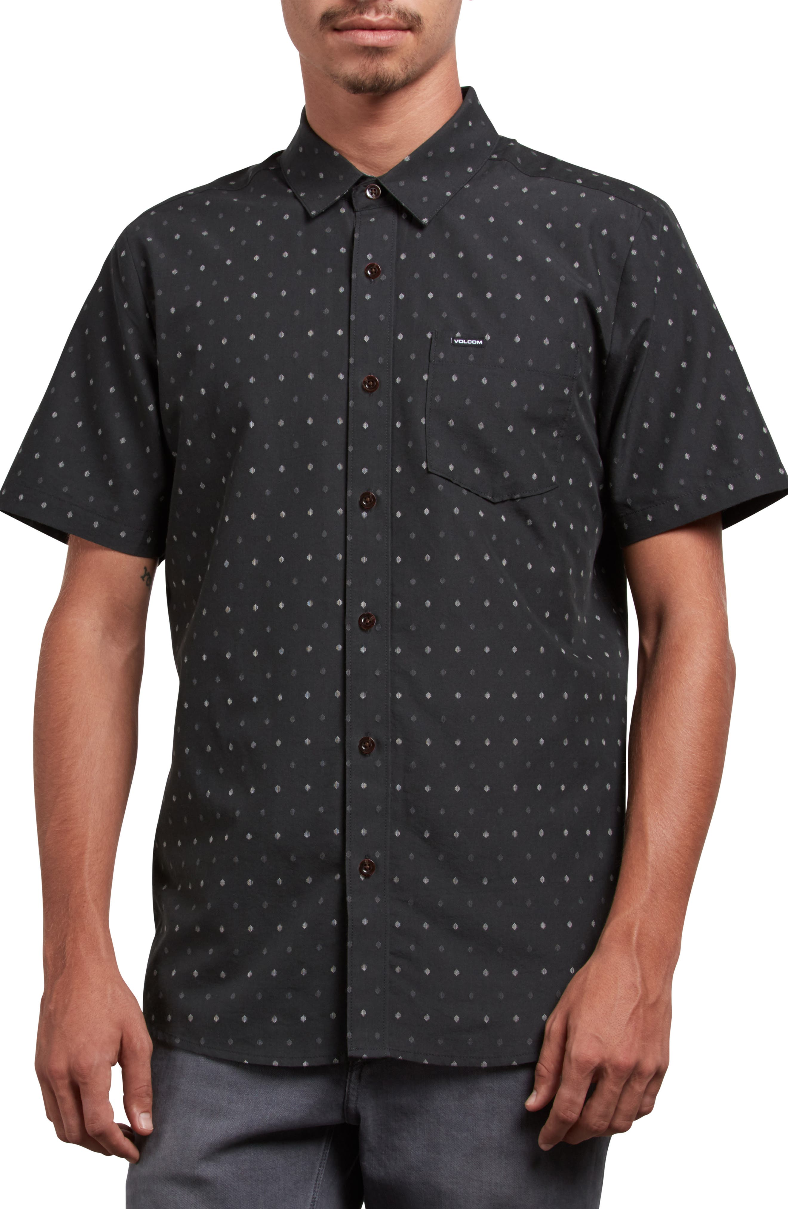 Frequency Dot Short Sleeve Woven Shirt,                         Main,                         color, 020
