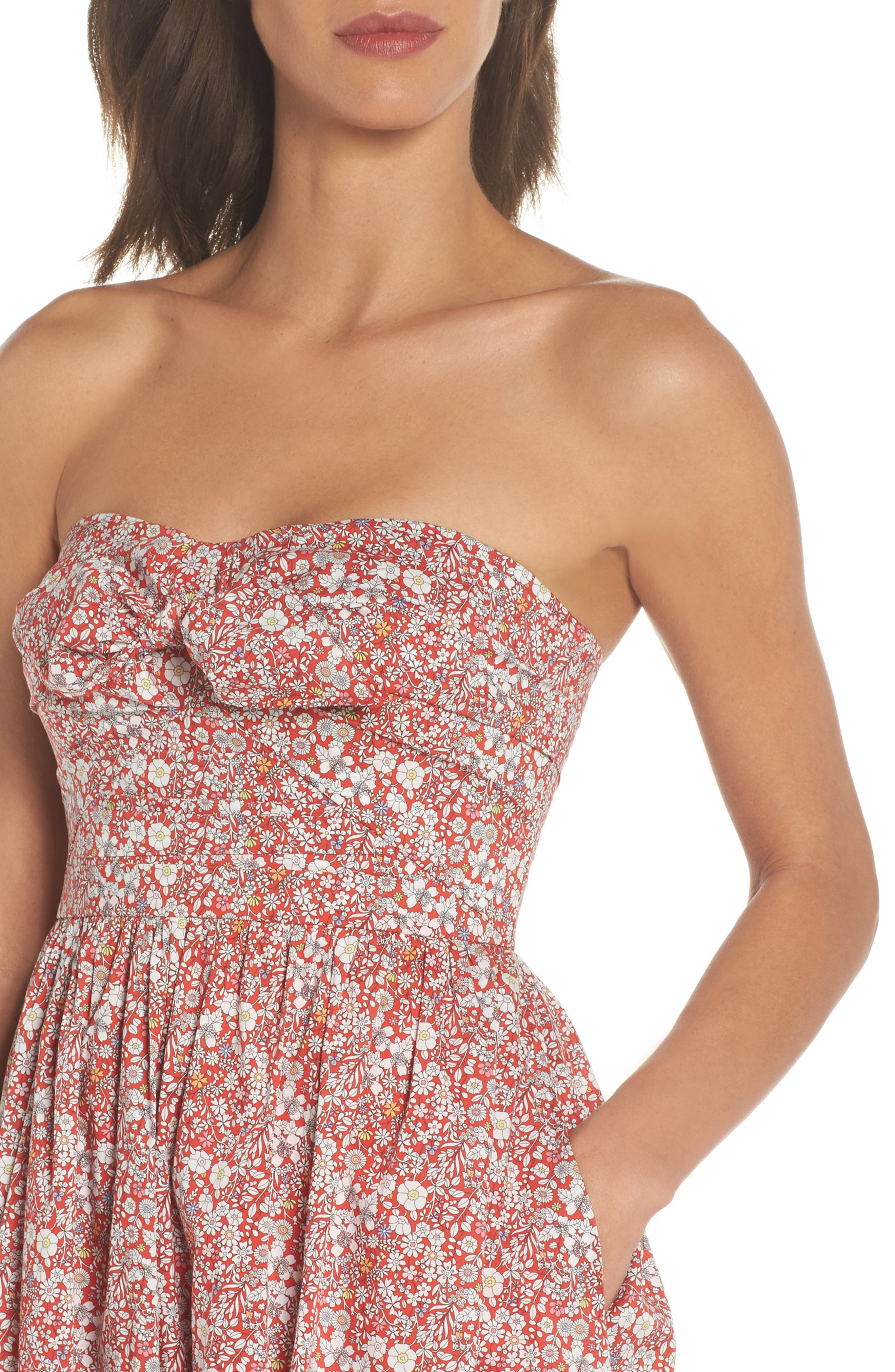 Liberty Tie Front Strapless Dress,                             Alternate thumbnail 4, color,                             600