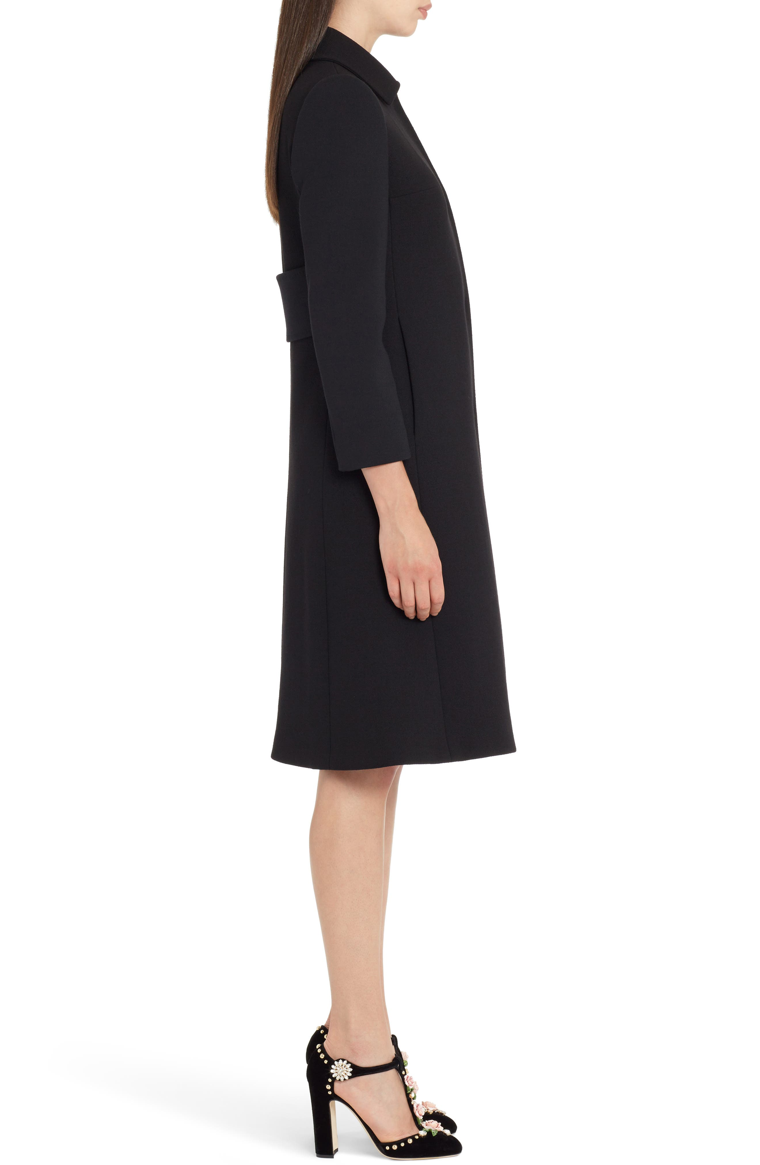 Stretch Wool Crepe Coat,                             Alternate thumbnail 3, color,