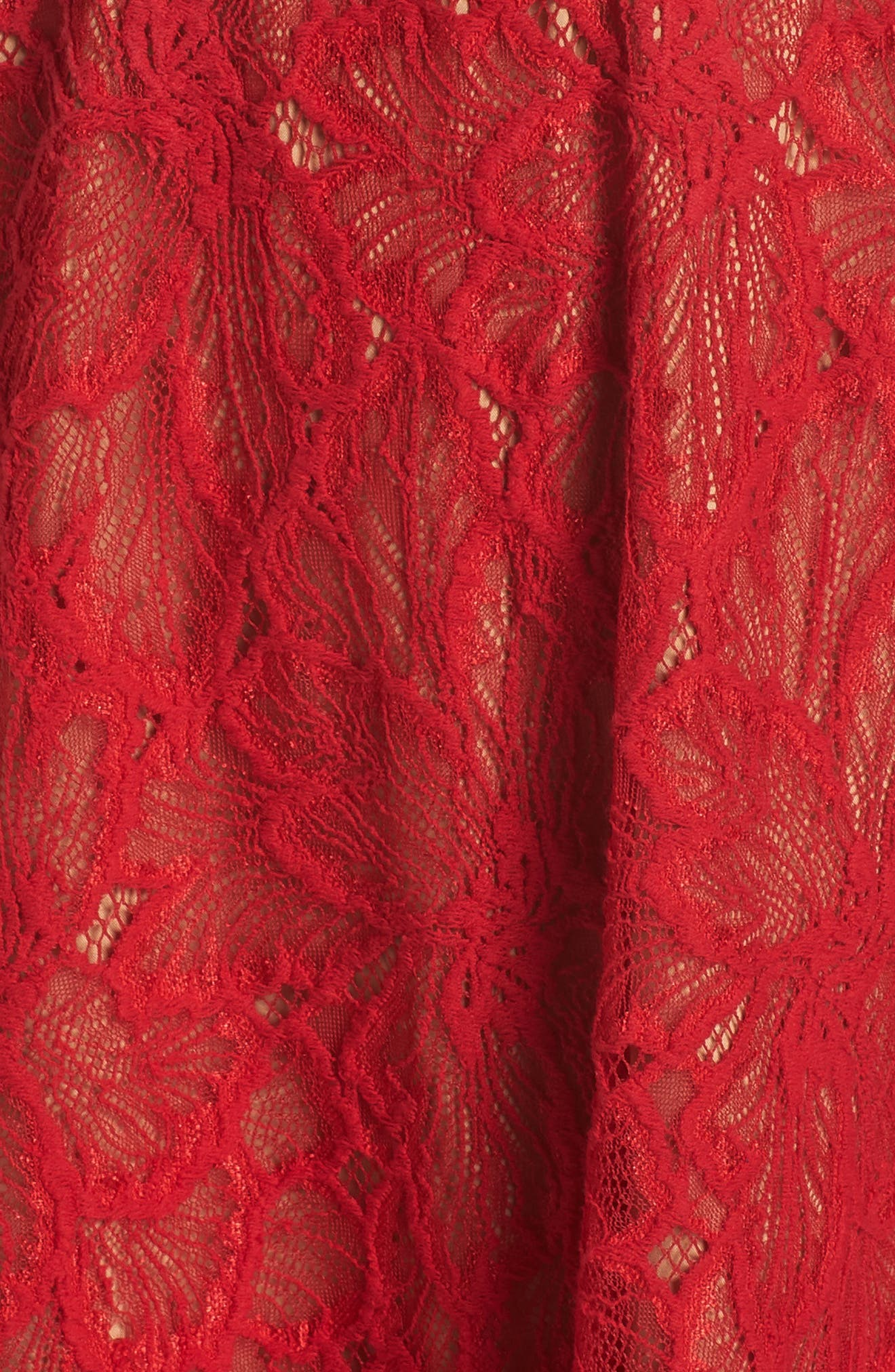 ALI & JAY,                             Cheek to Cheek Lace Midi Dress,                             Alternate thumbnail 6, color,                             SCARLET