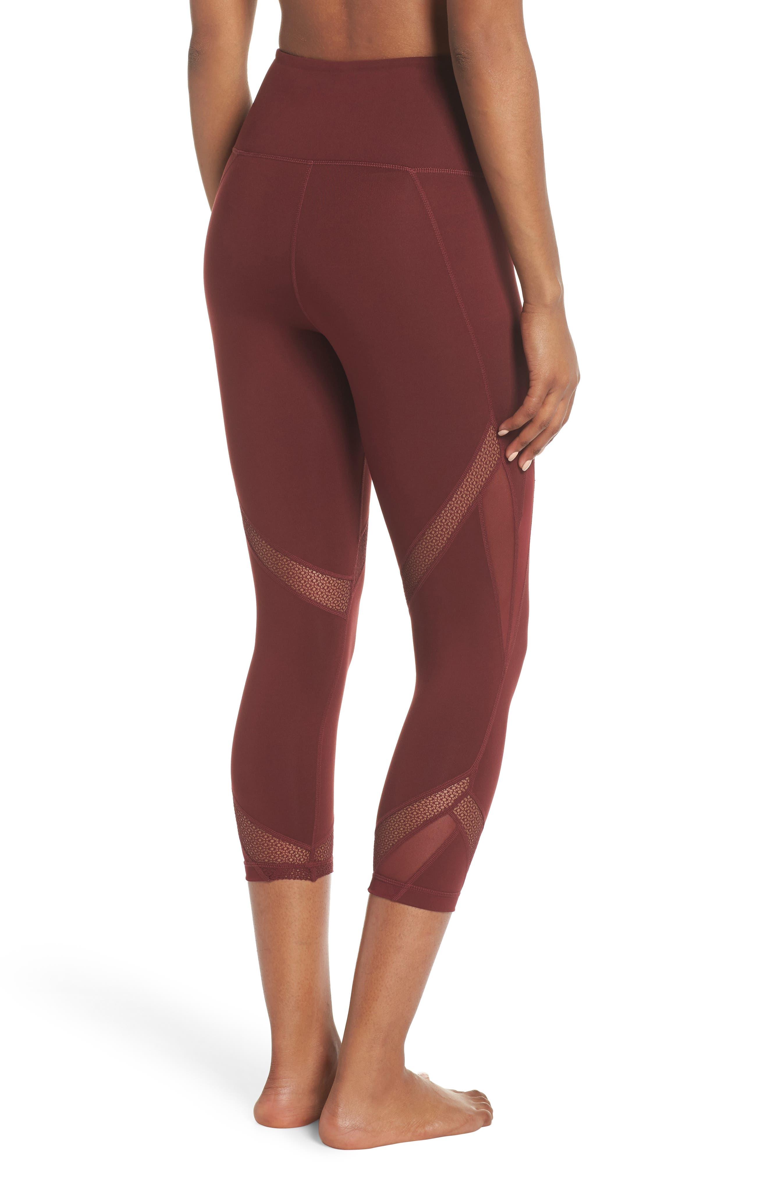 Moroccan High Waist Crop Leggings,                             Alternate thumbnail 2, color,                             RED TANNIN