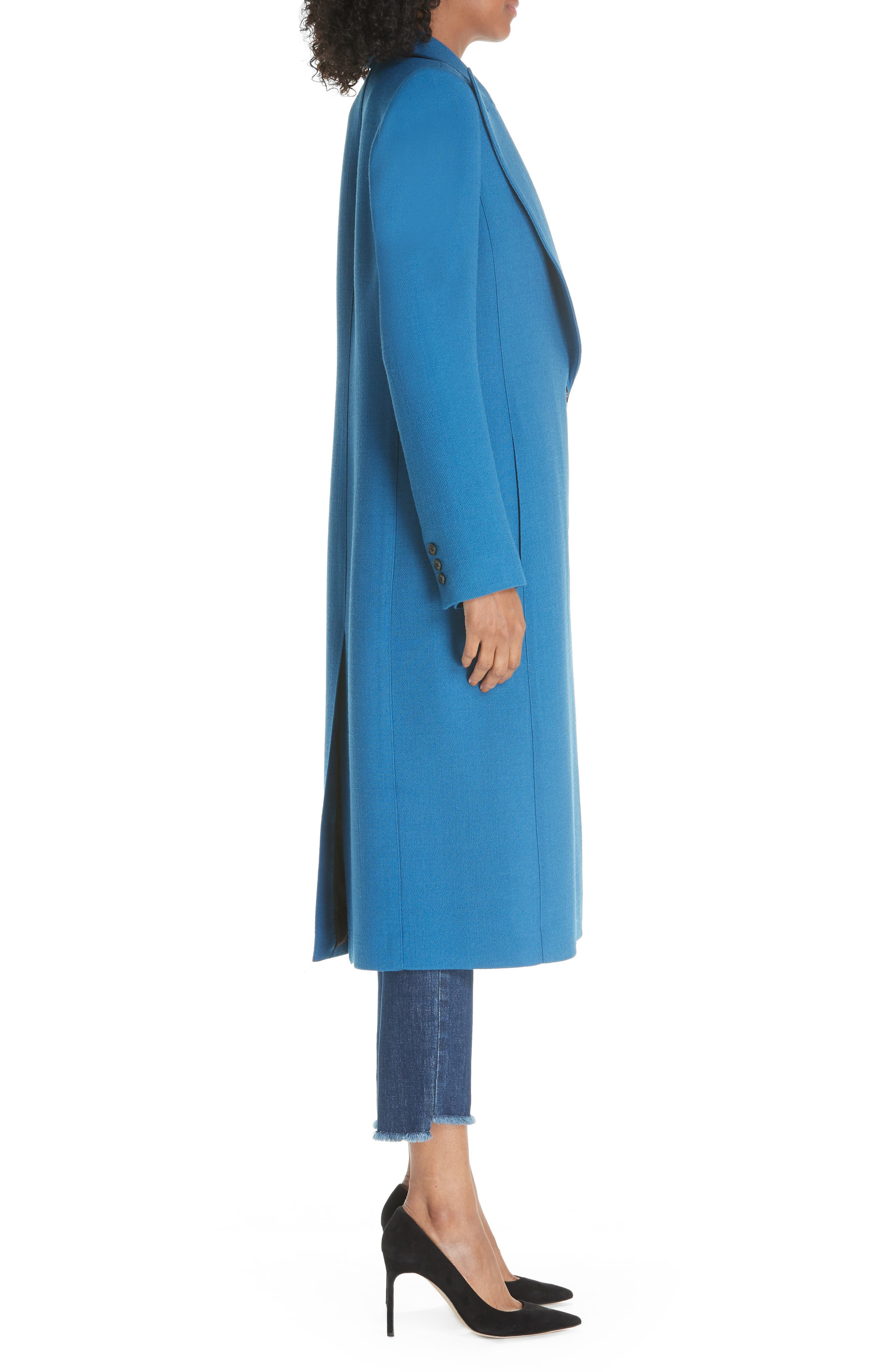 Peaked Lapel Wool Blend Coat,                             Alternate thumbnail 3, color,                             470
