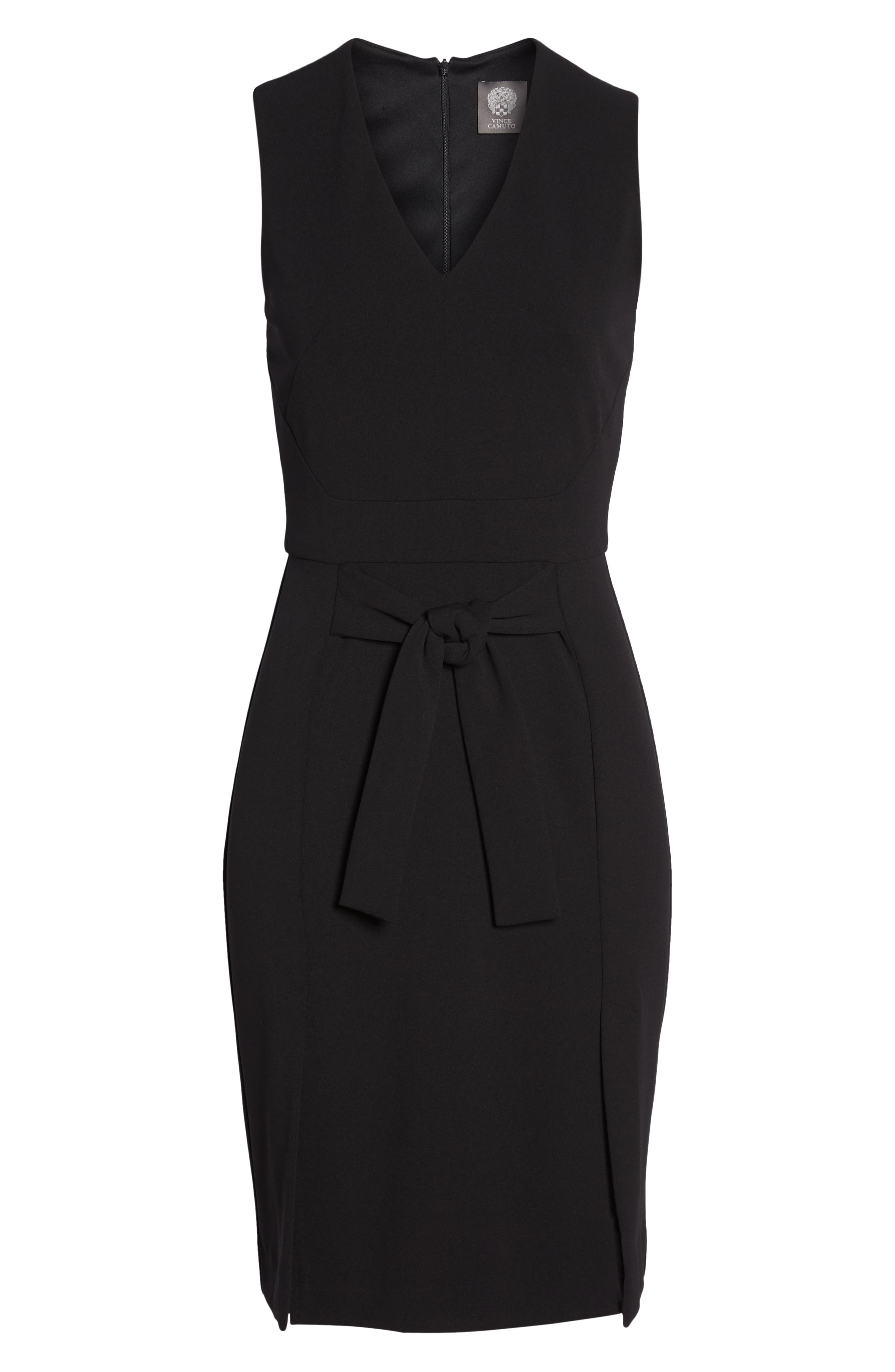 Scuba Crepe Sheath Dress,                             Alternate thumbnail 7, color,                             BLACK