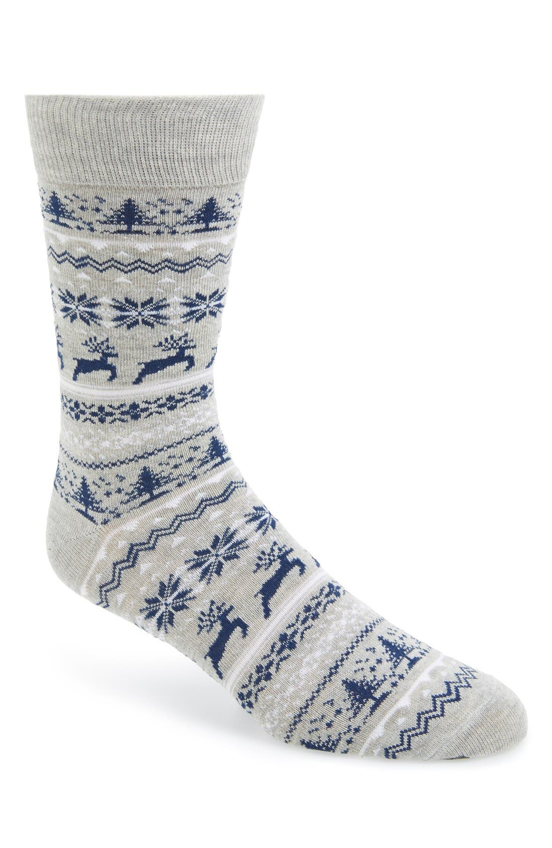 Nordic Pattern Socks, Main, color, 020