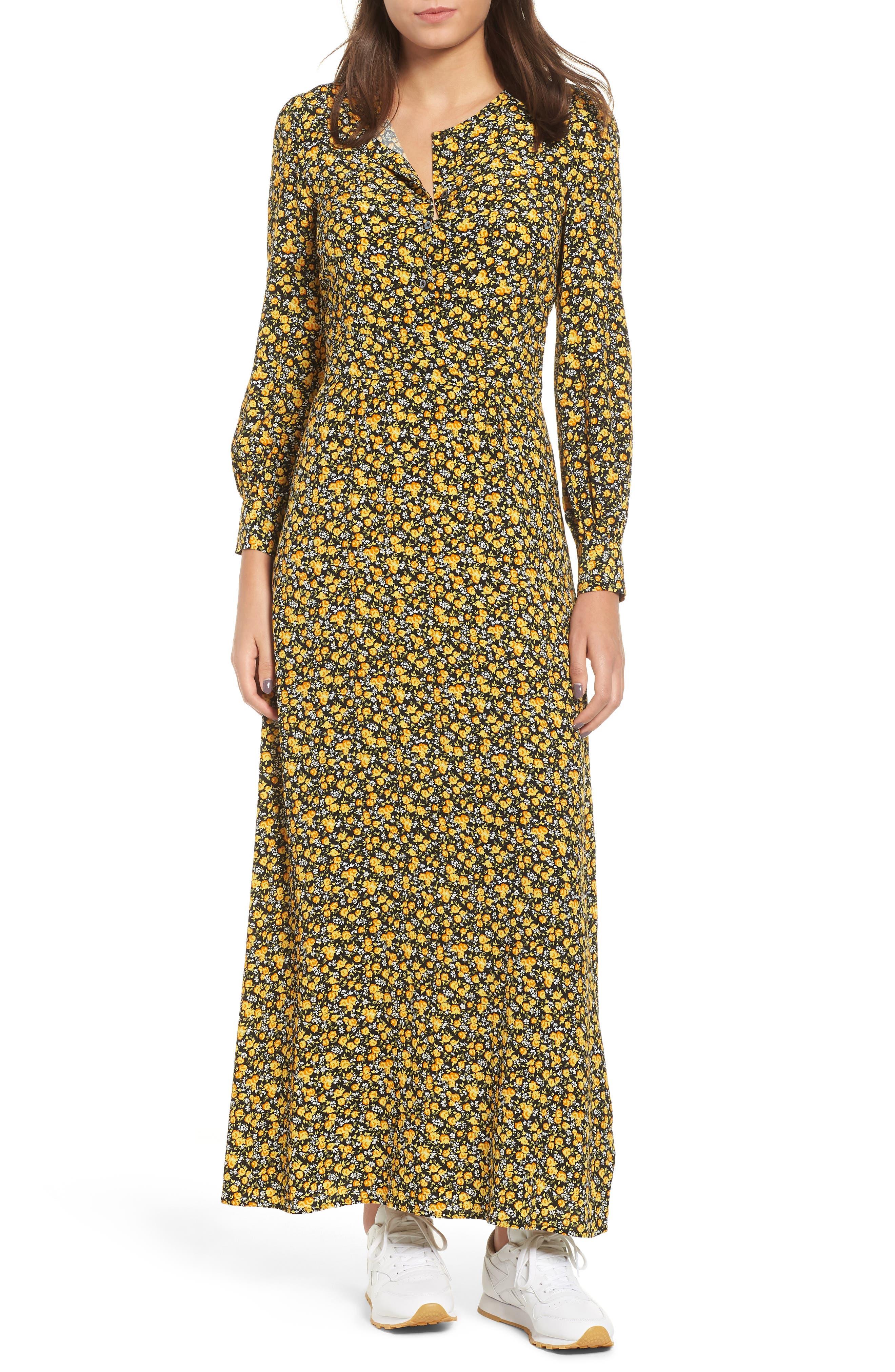 70s Dresses – Disco Dresses, Hippie Dresses, Wrap Dresses Womens Calvin Klein Jeans Ditzy Floral Dress $83.98 AT vintagedancer.com