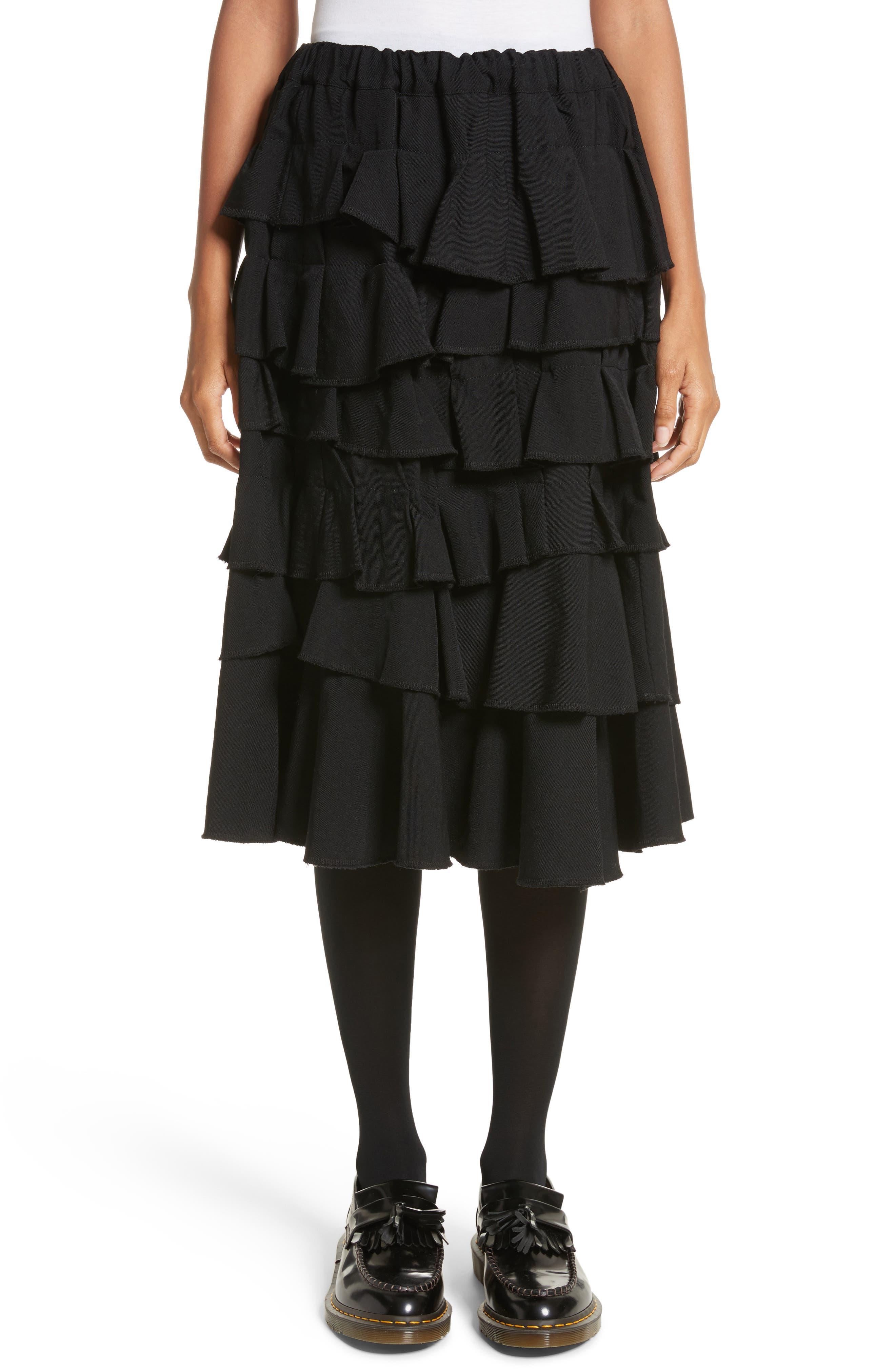 Ruffle Gabardine Skirt,                             Main thumbnail 1, color,                             001