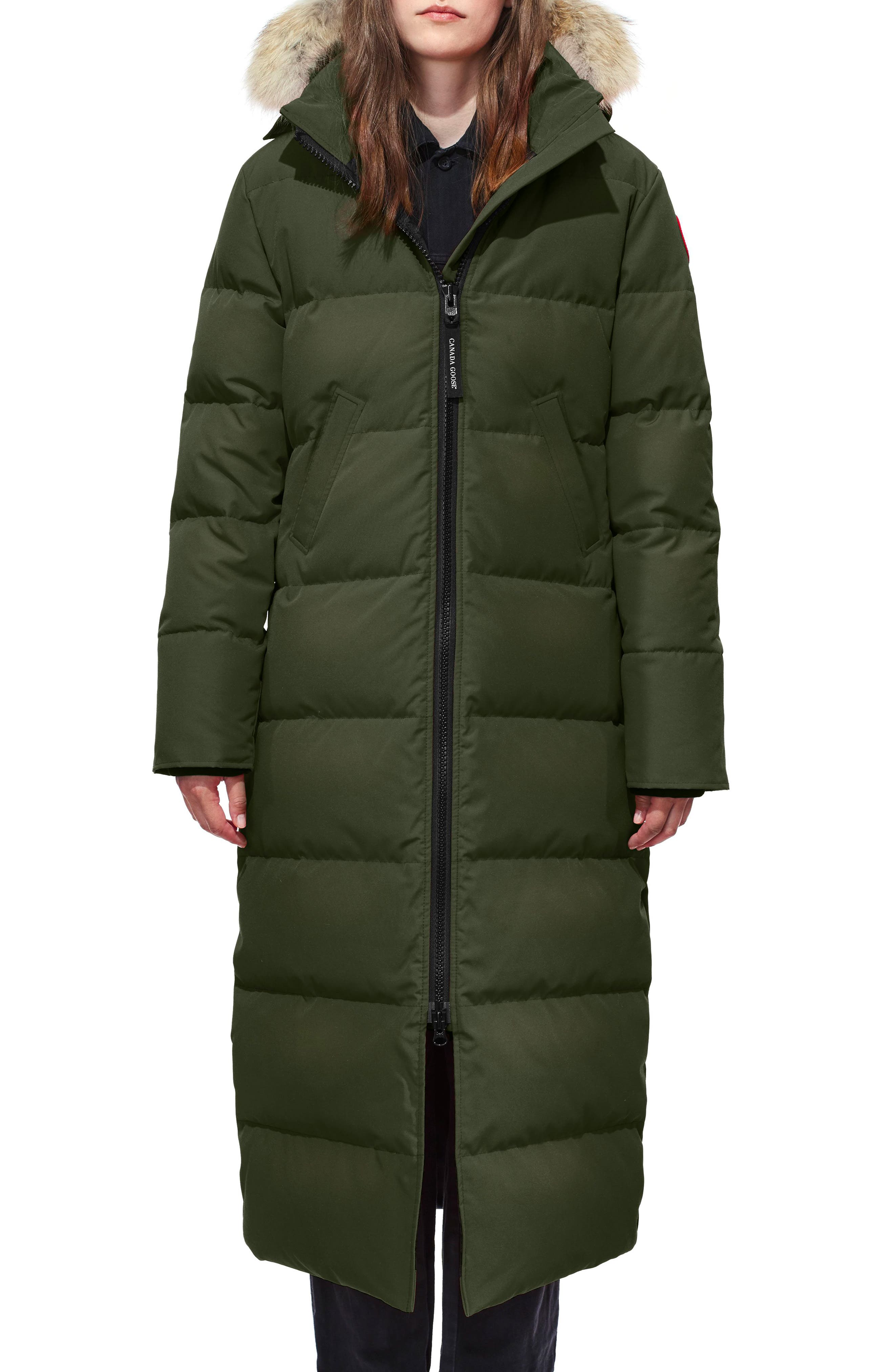 Mystique Regular Fit Down Parka with Genuine Coyote Fur Trim,                         Main,                         color, MILITARY GREEN