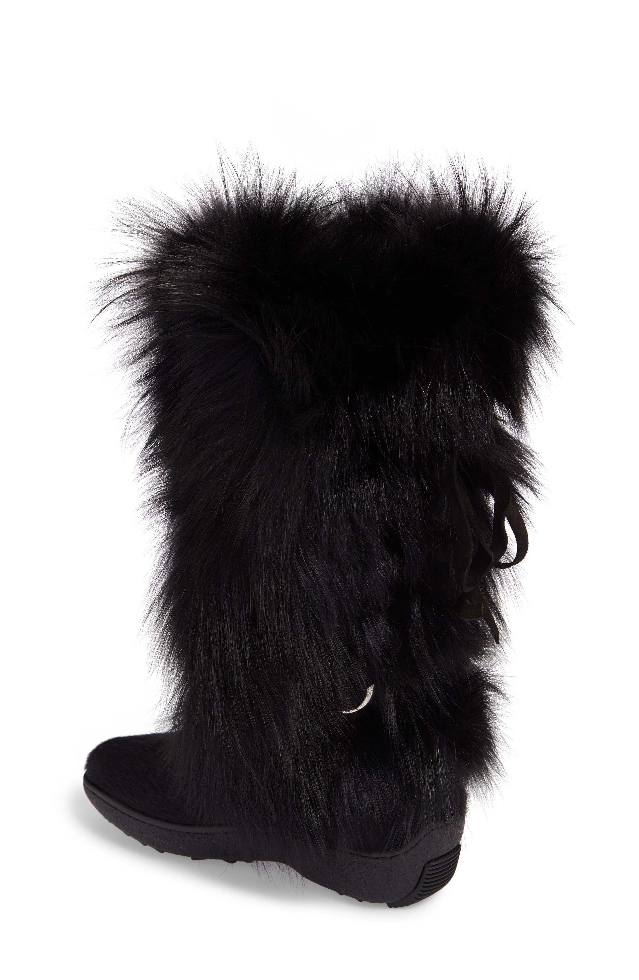 Kim Genuine Fox Fur Boot,                             Alternate thumbnail 2, color,                             001