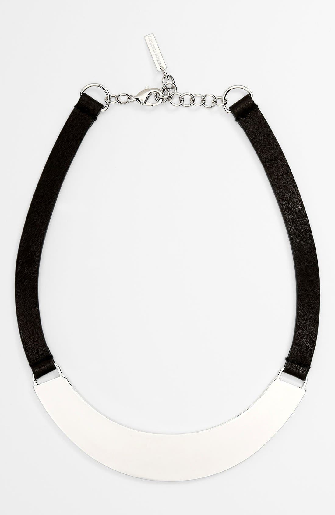 VINCE CAMUTO,                             Leather Collar Necklace,                             Main thumbnail 1, color,                             001