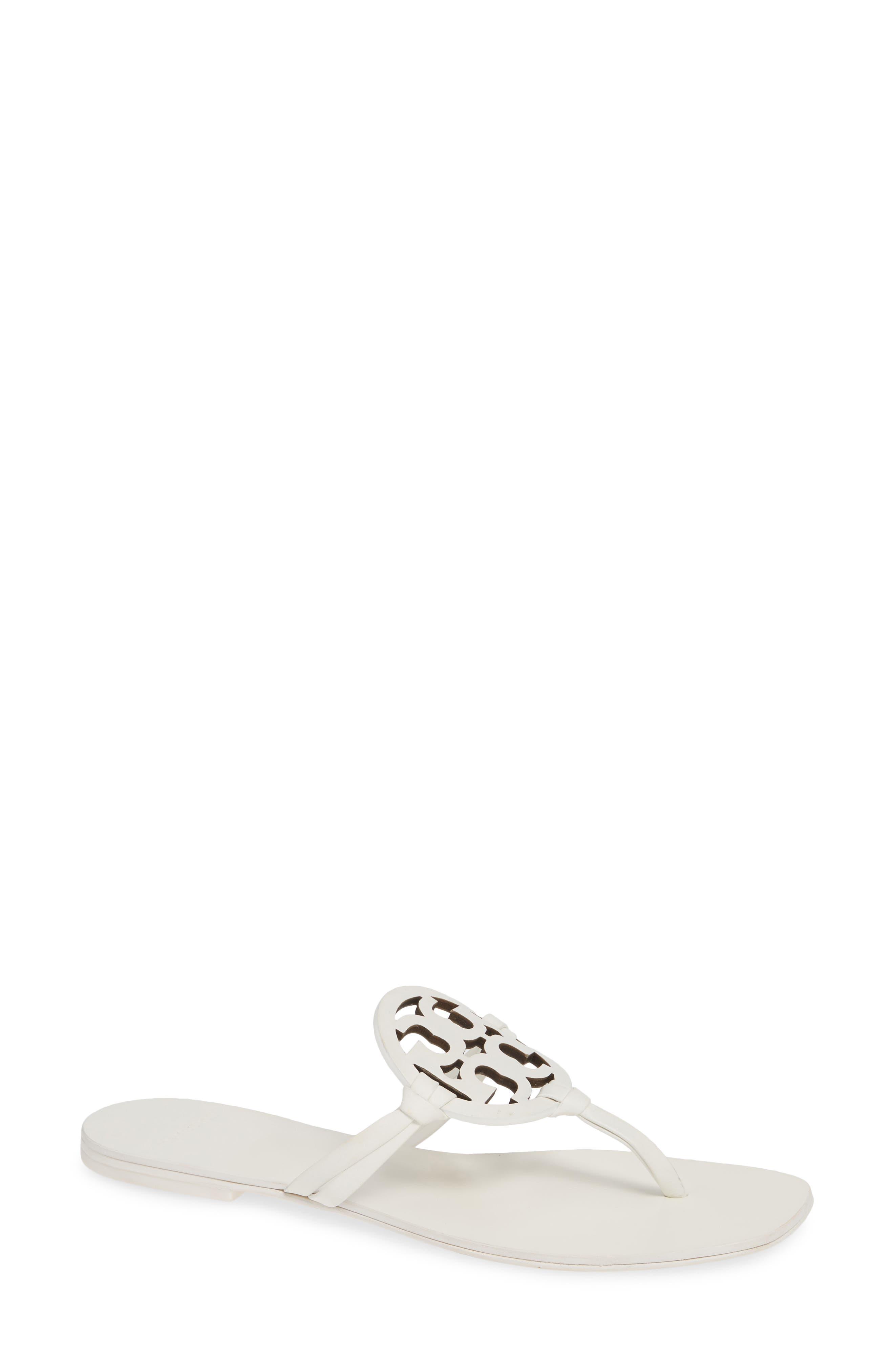 Miller Square-Toe Flat Slide Sandals in White